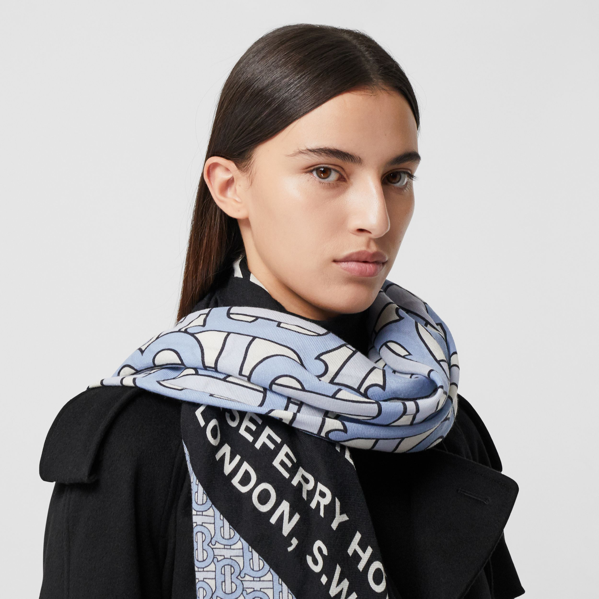 Monogram Print Cashmere Large Square Scarf in Pale Blue | Burberry - 3