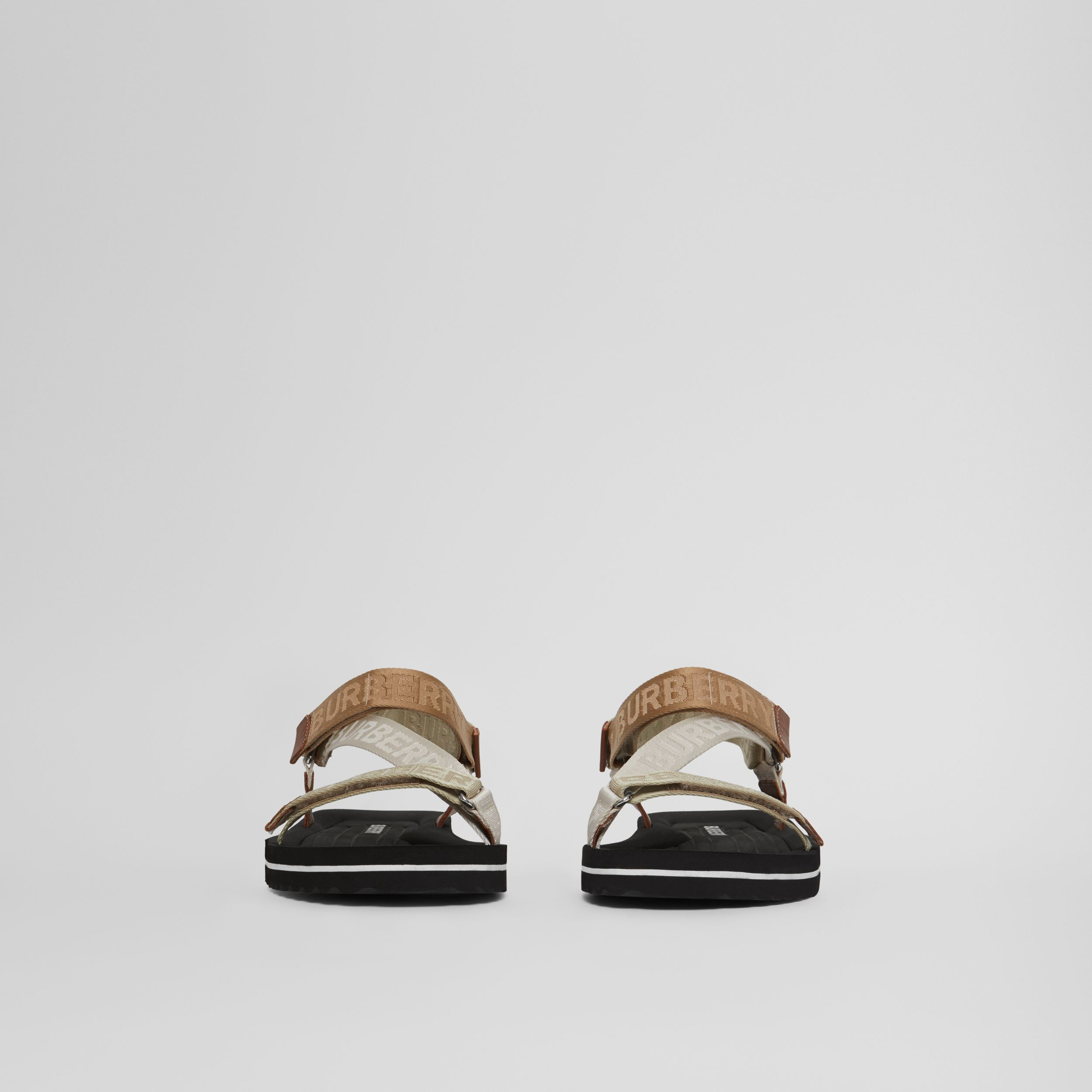 Logo Jacquard Sandals in Archive Beige - Men | Burberry - 4