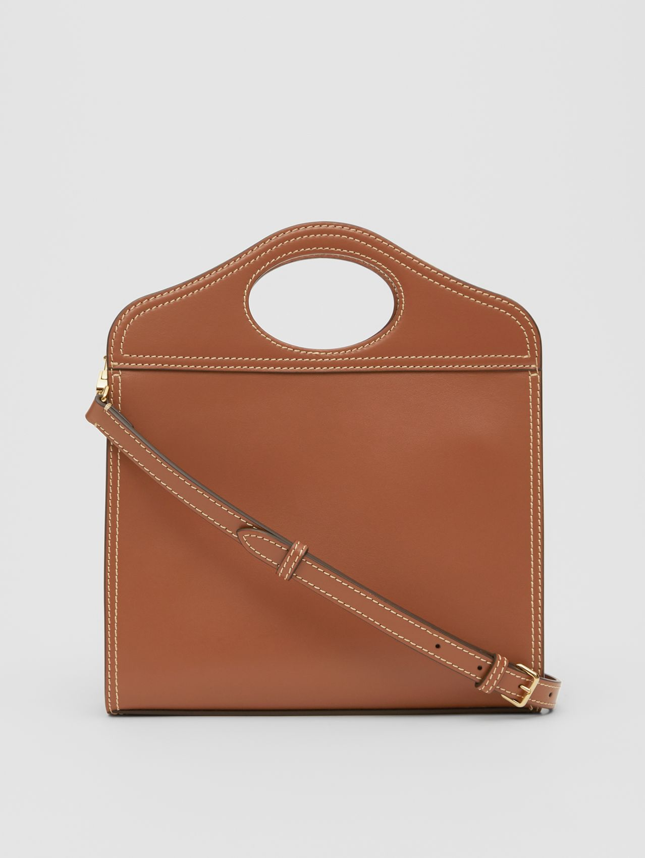 Medium Topstitch Detail Leather Pocket Bag in Malt Brown