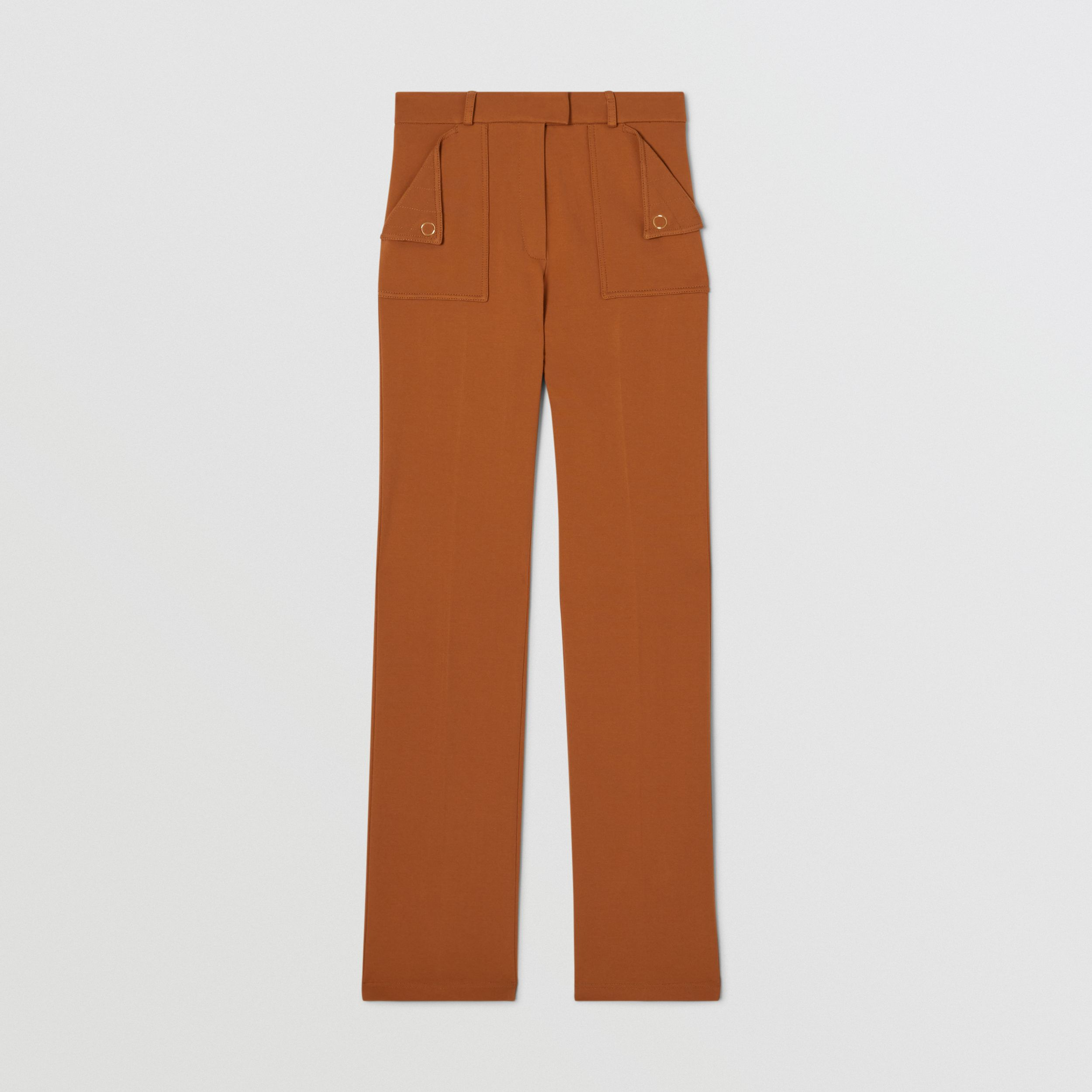 Pocket Detail Jersey Tailored Trousers in Biscuit - Women | Burberry - 4