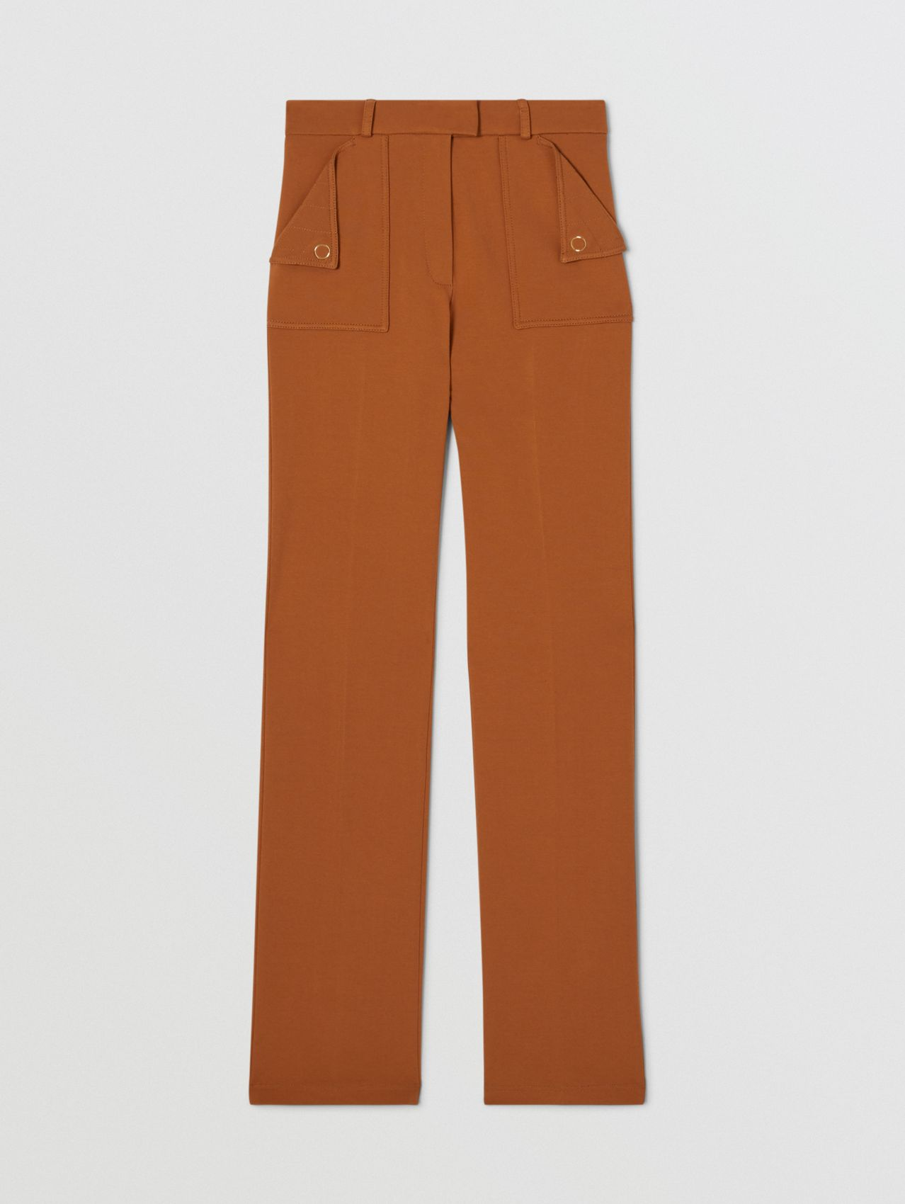 Pocket Detail Jersey Tailored Trousers in Biscuit