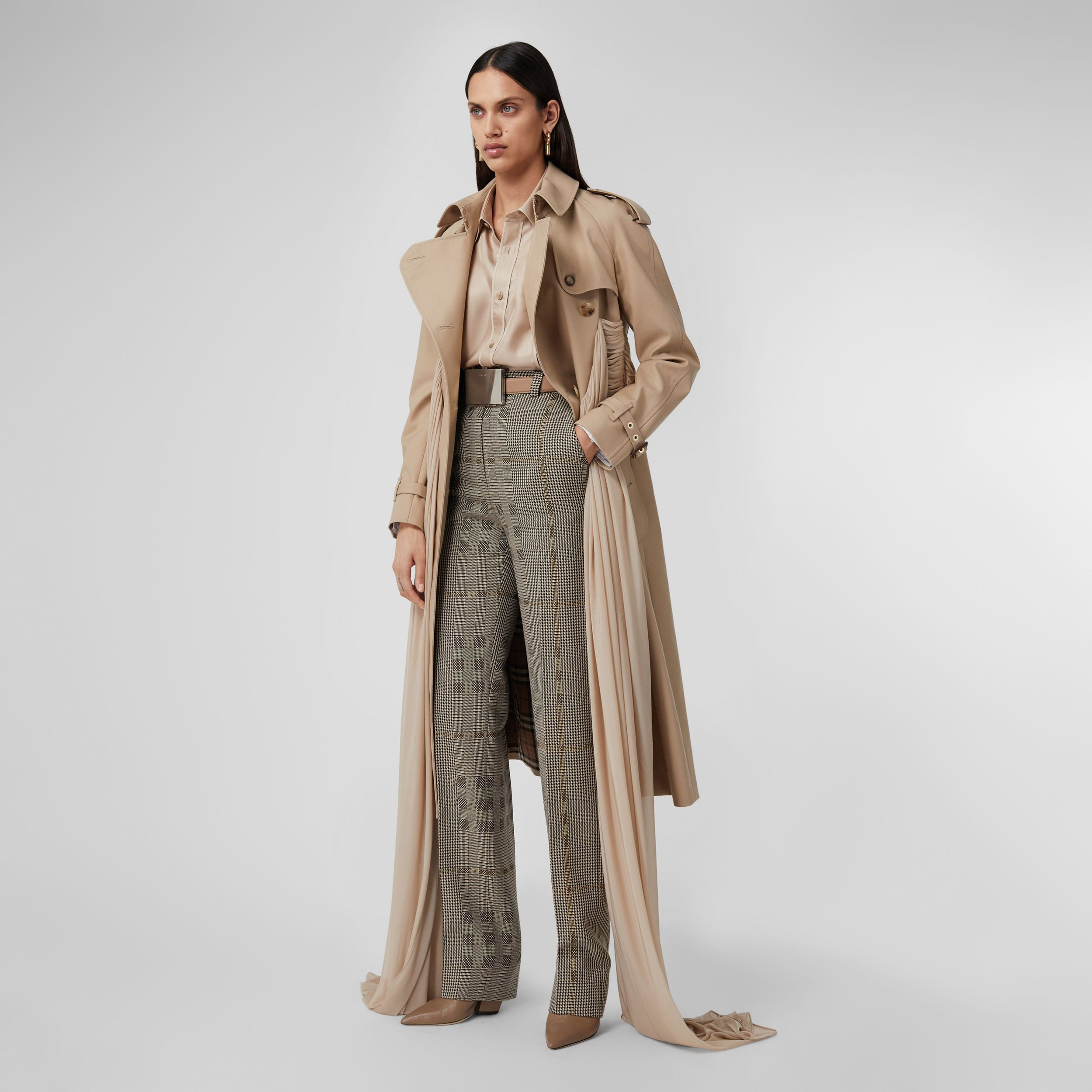 Check Wool Jacquard Tailored Trousers in Brown - Women | Burberry - 1