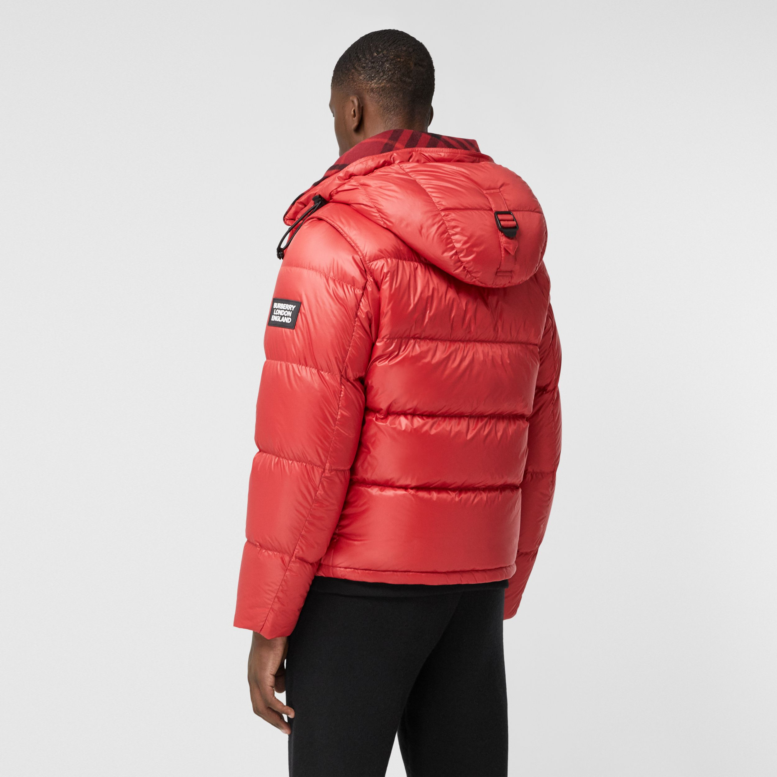 Detachable Sleeve Hooded Puffer Jacket in Bright Red - Men | Burberry Australia - 3
