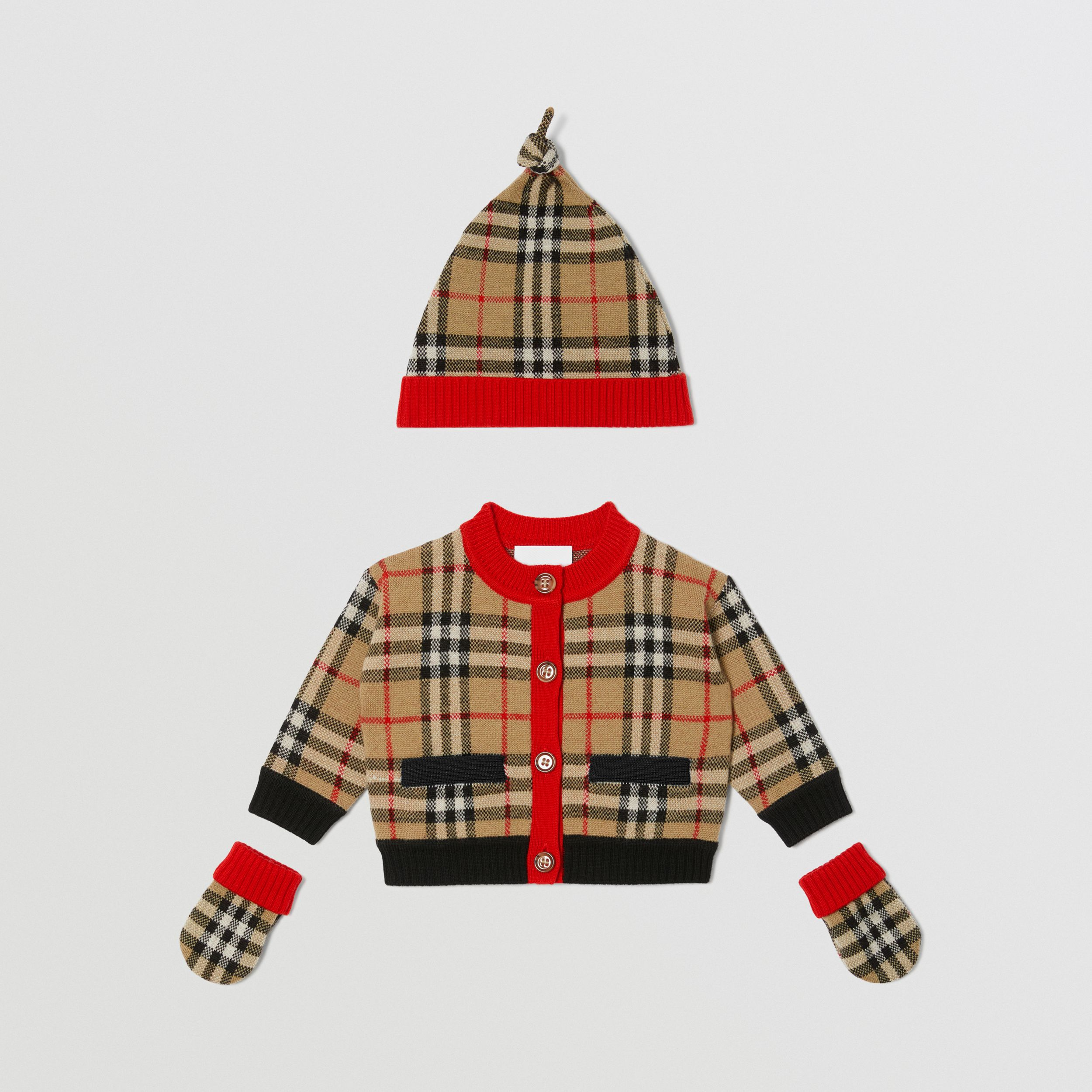 Check Merino Wool Jacquard Three-piece Baby Gift Set in Archive Beige - Children | Burberry - 1