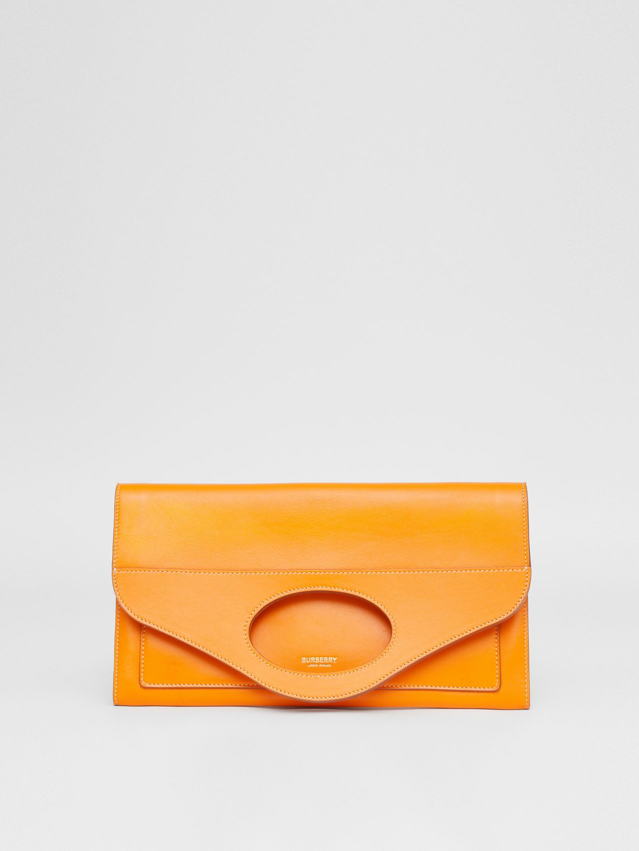 Small Topstitched Leather Pocket Clutch in Deep Orange