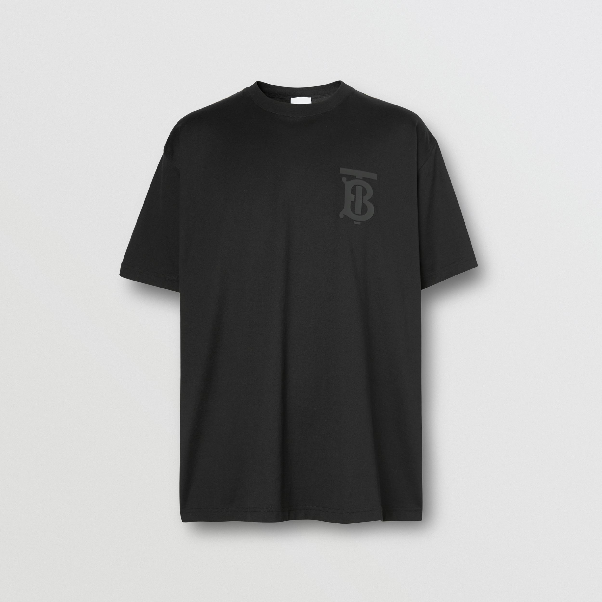 Monogram Motif Cotton Oversized T-shirt in Black | Burberry - 4