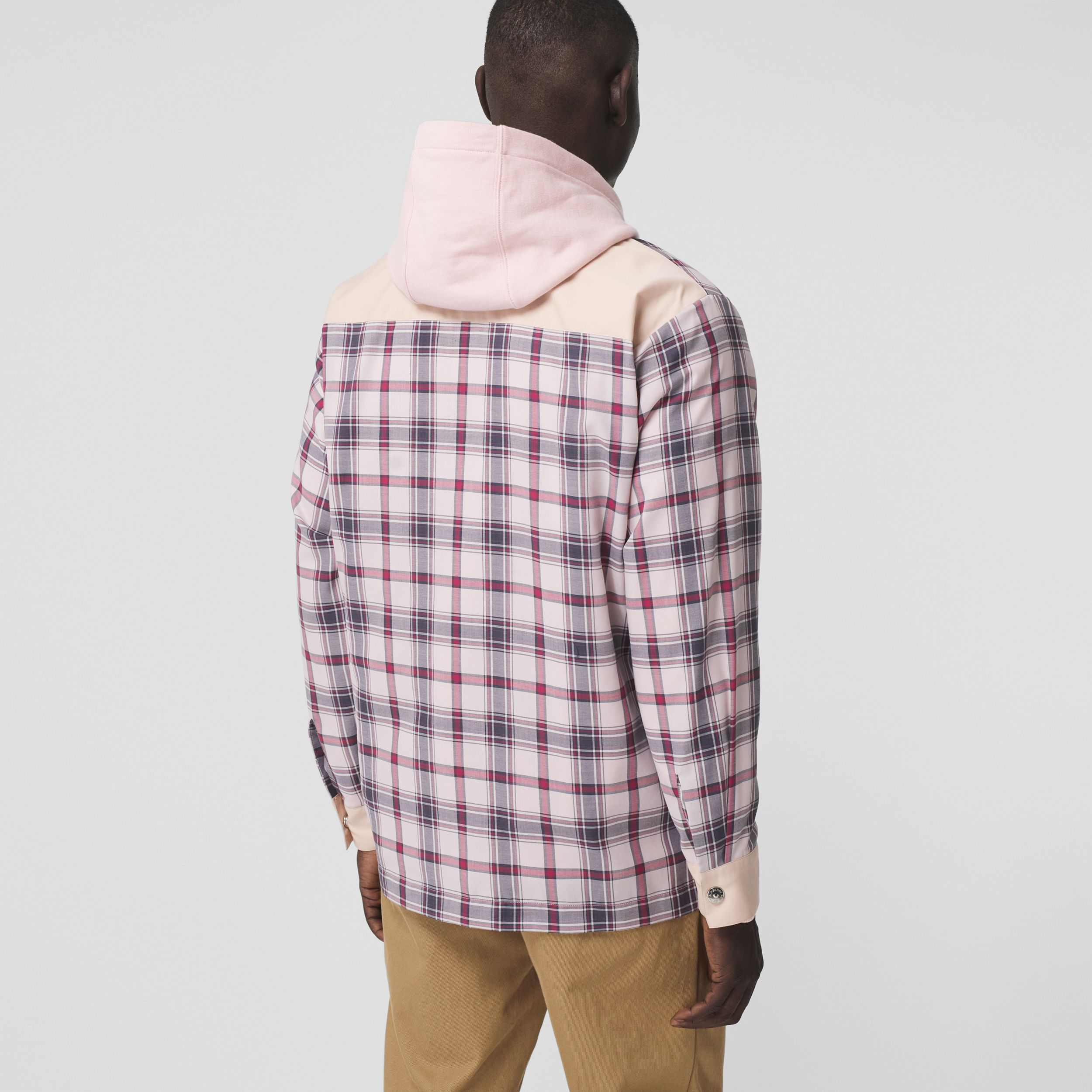 Varsity Graphic Check Technical Cotton Overshirt in Frosted Pink - Men | Burberry - 3