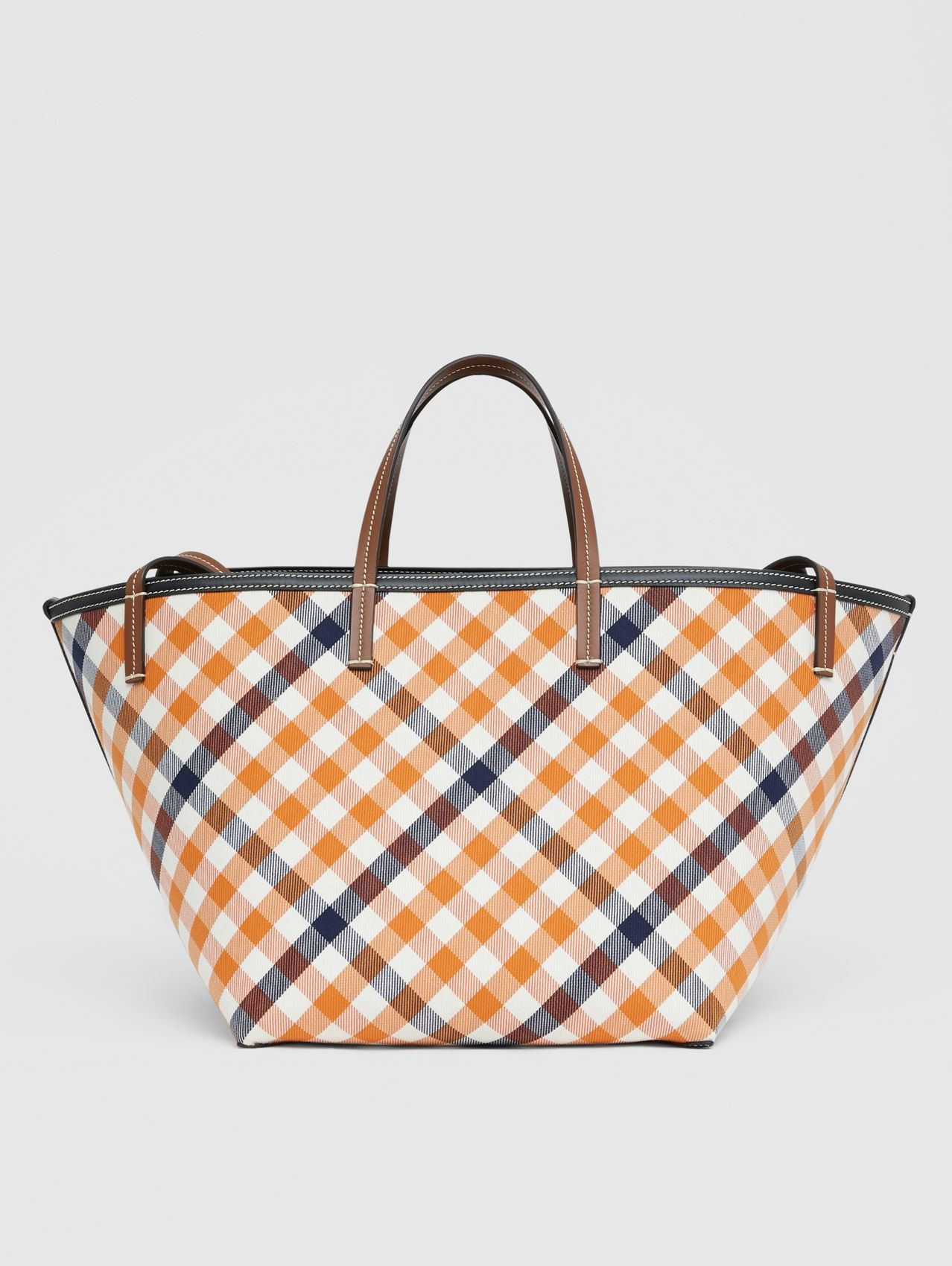 Mini Gingham Wool Cotton Beach Tote in Bright Orange