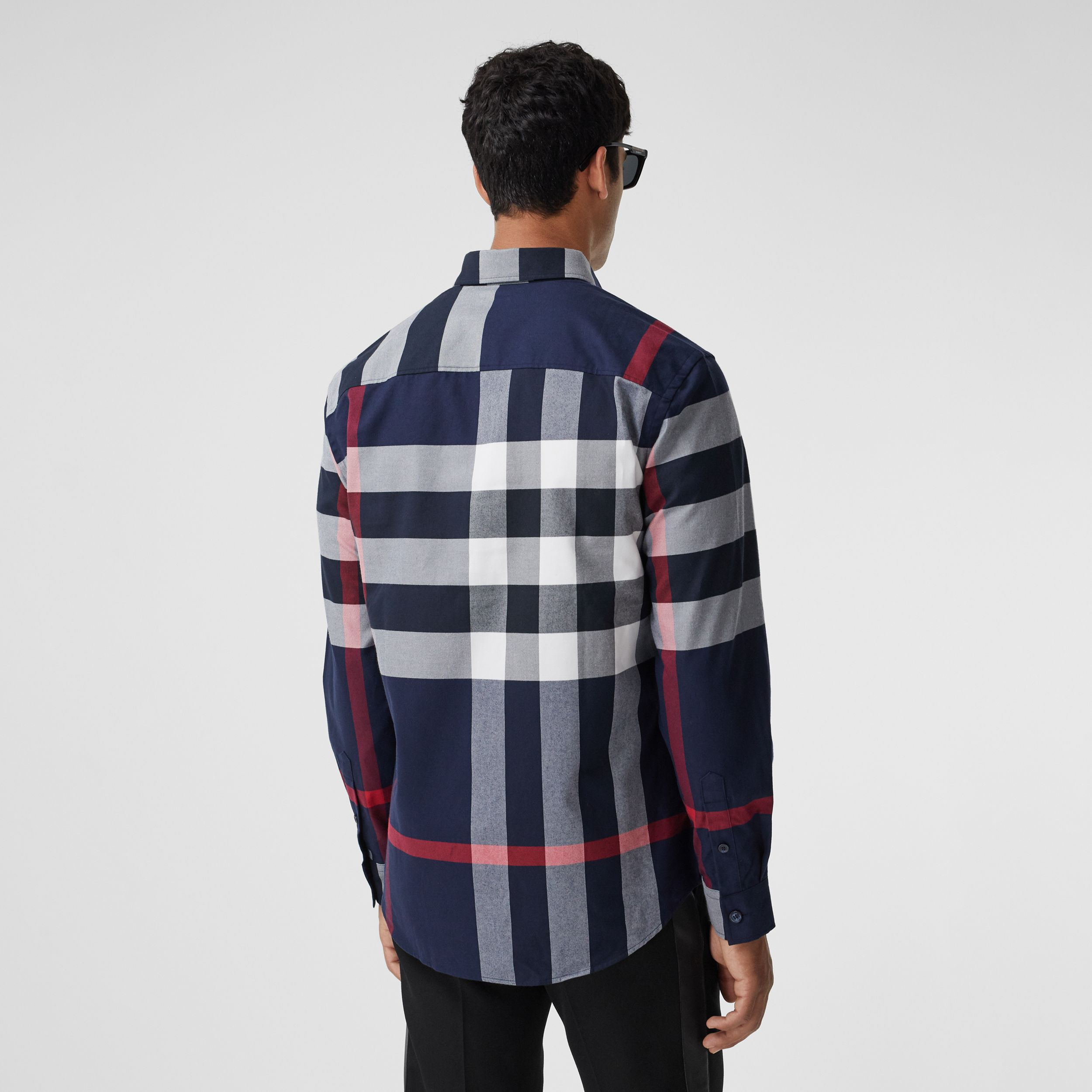 Check Cotton Flannel Shirt in Navy - Men | Burberry - 3