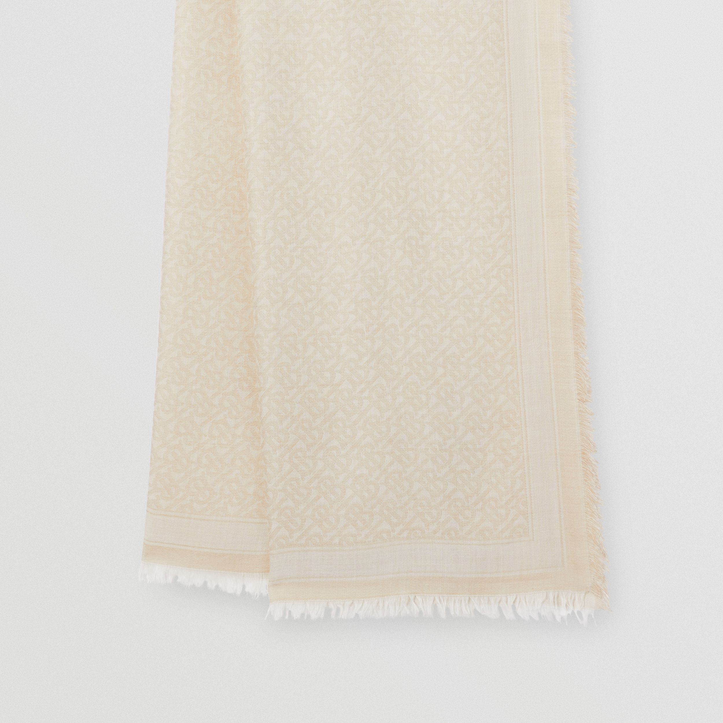 Monogram Wool Silk Jacquard Scarf in Pale Archive Beige | Burberry - 4