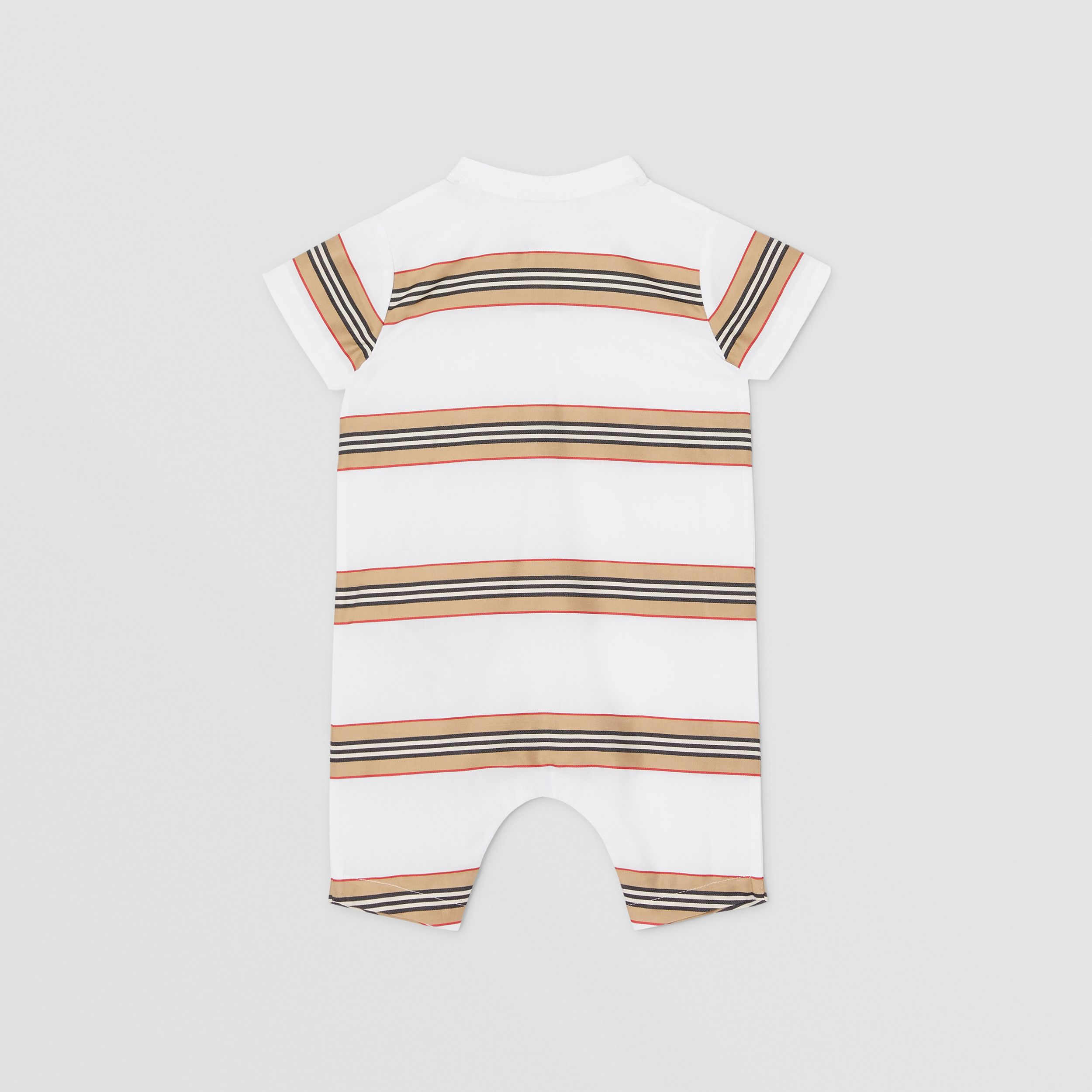 Icon Stripe Cotton Playsuit in White - Children | Burberry - 4