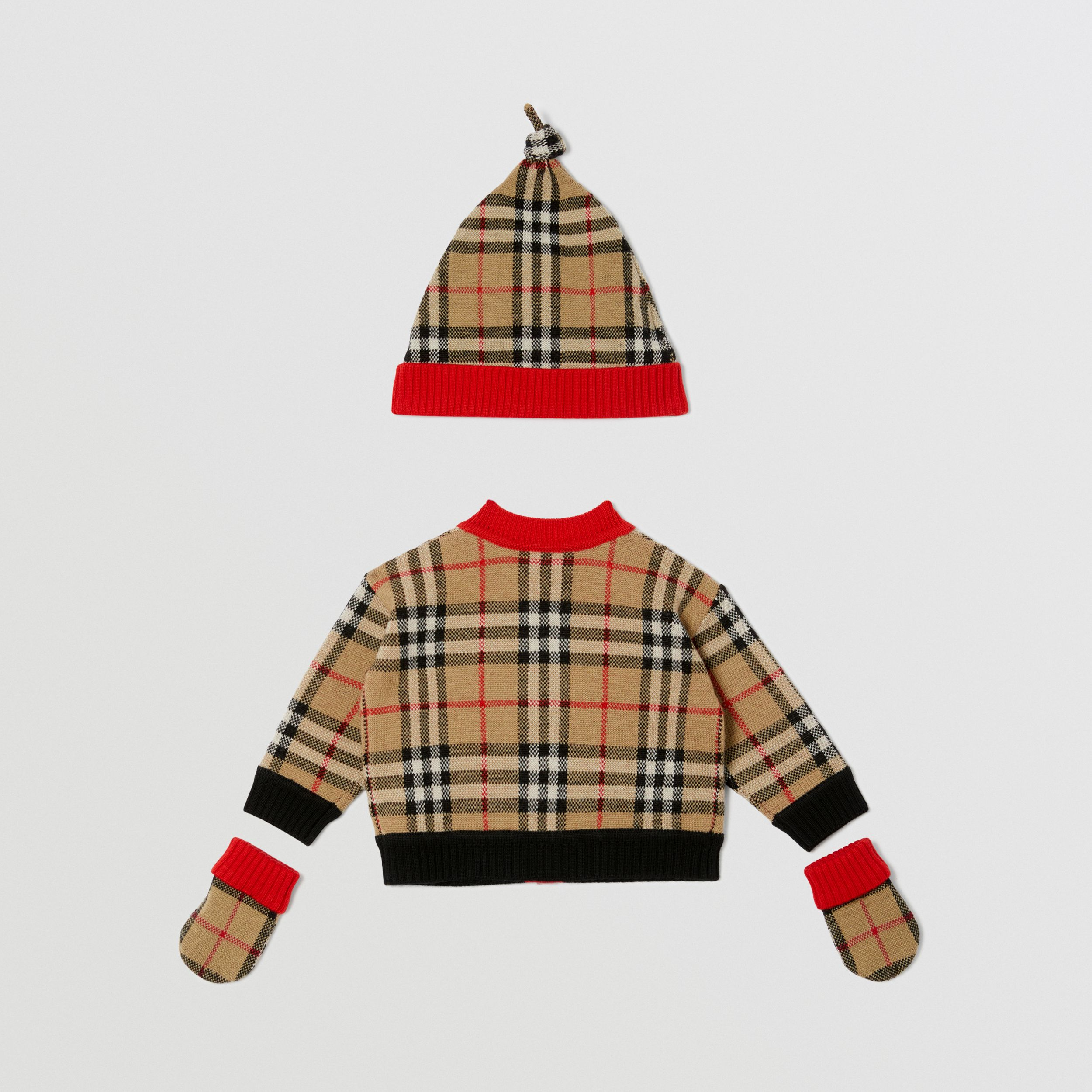 Check Merino Wool Jacquard Three-piece Baby Gift Set in Archive Beige - Children | Burberry - 4
