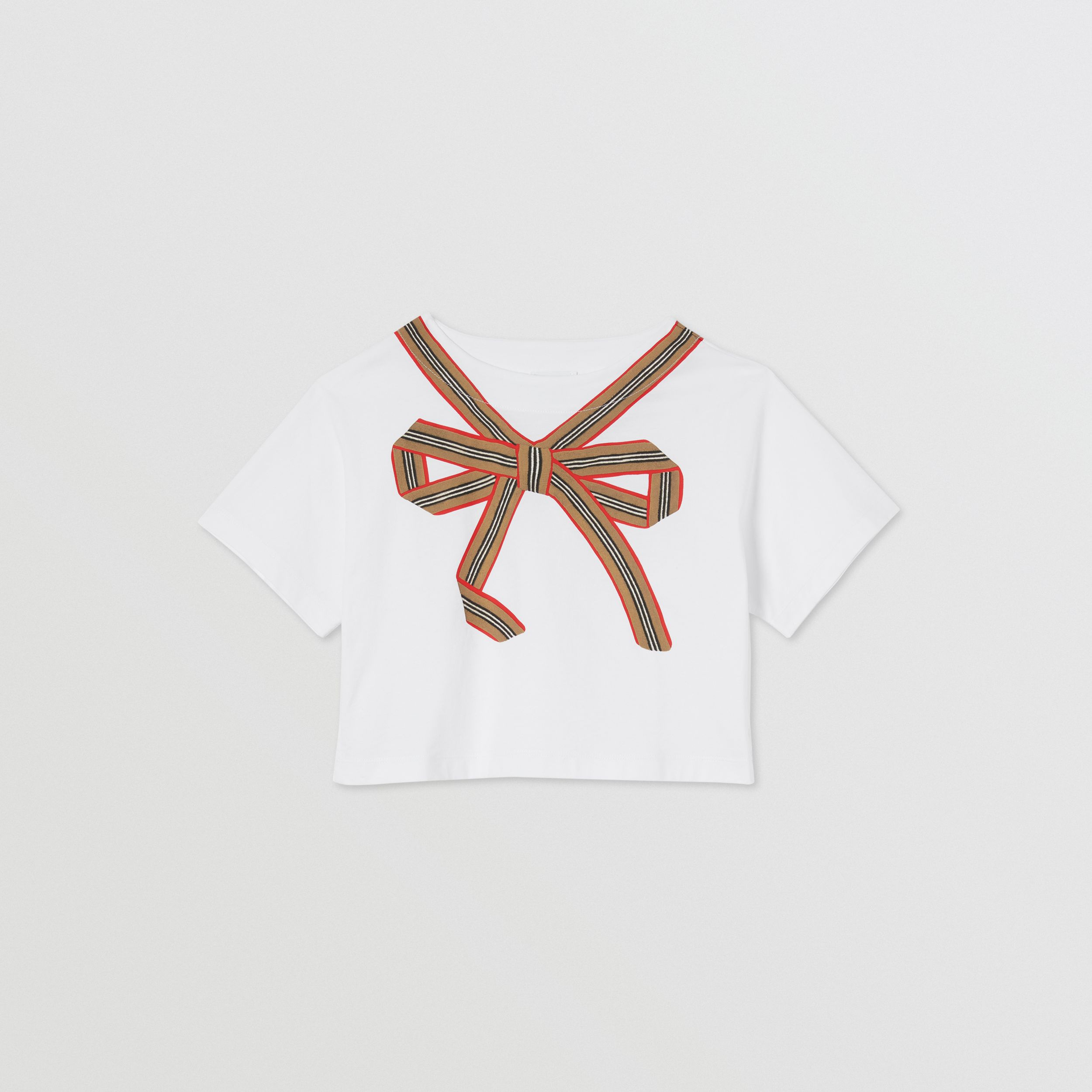 T-shirt in cotone con nastro con iconico motivo a righe | Burberry - 1