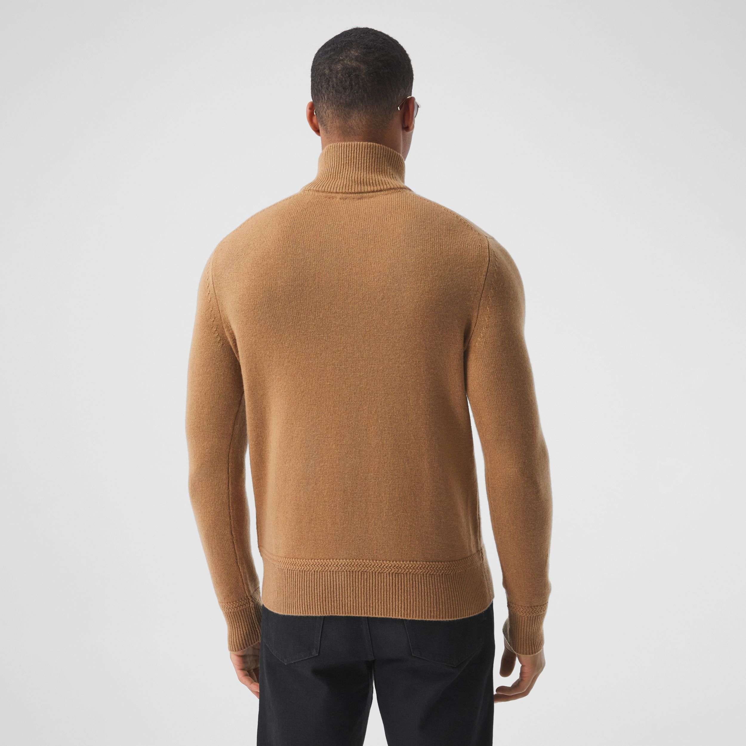 Monogram Motif Cashmere Funnel Neck Sweater in Camel - Men | Burberry - 3