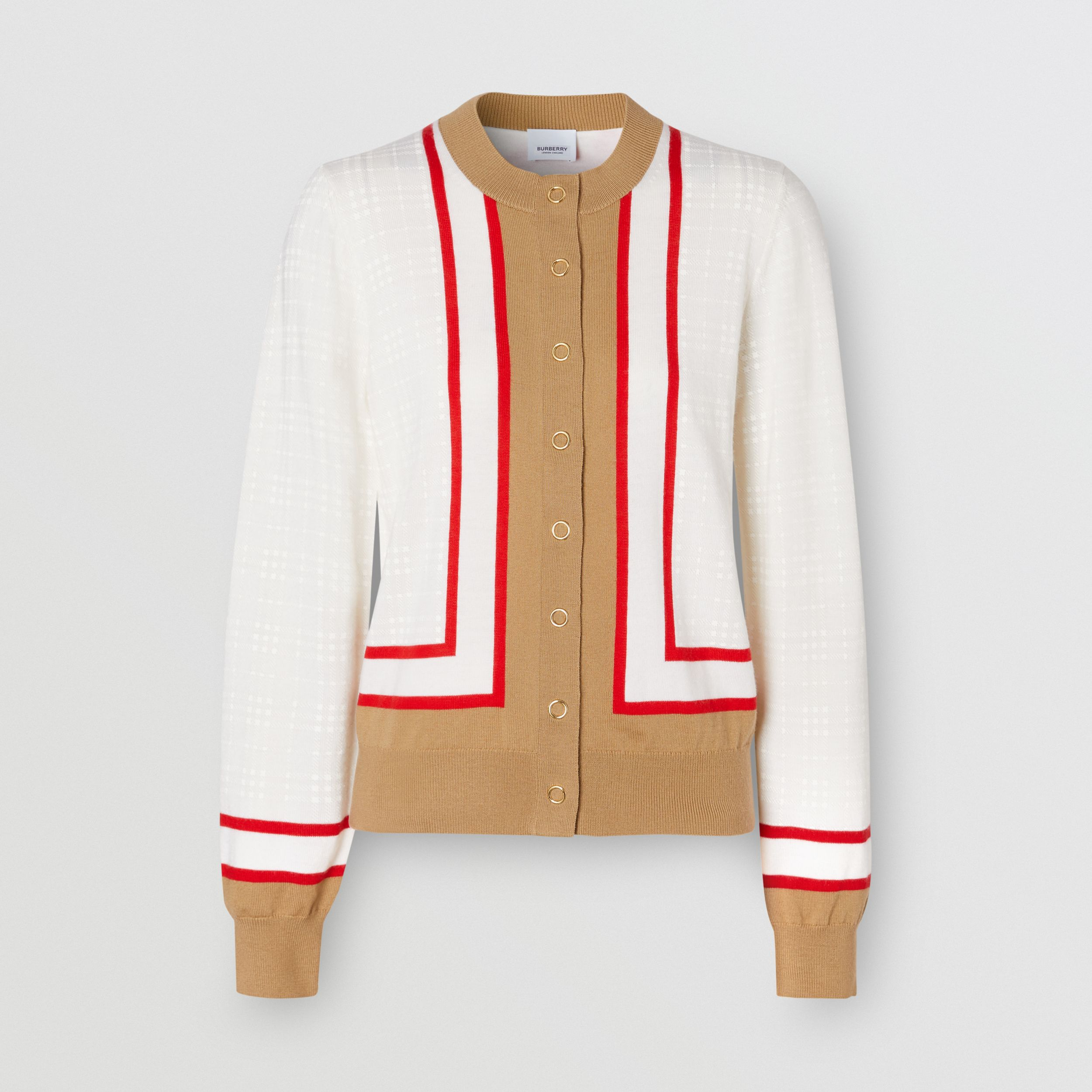 Archive Society Intarsia Wool Cardigan in White - Women | Burberry - 4