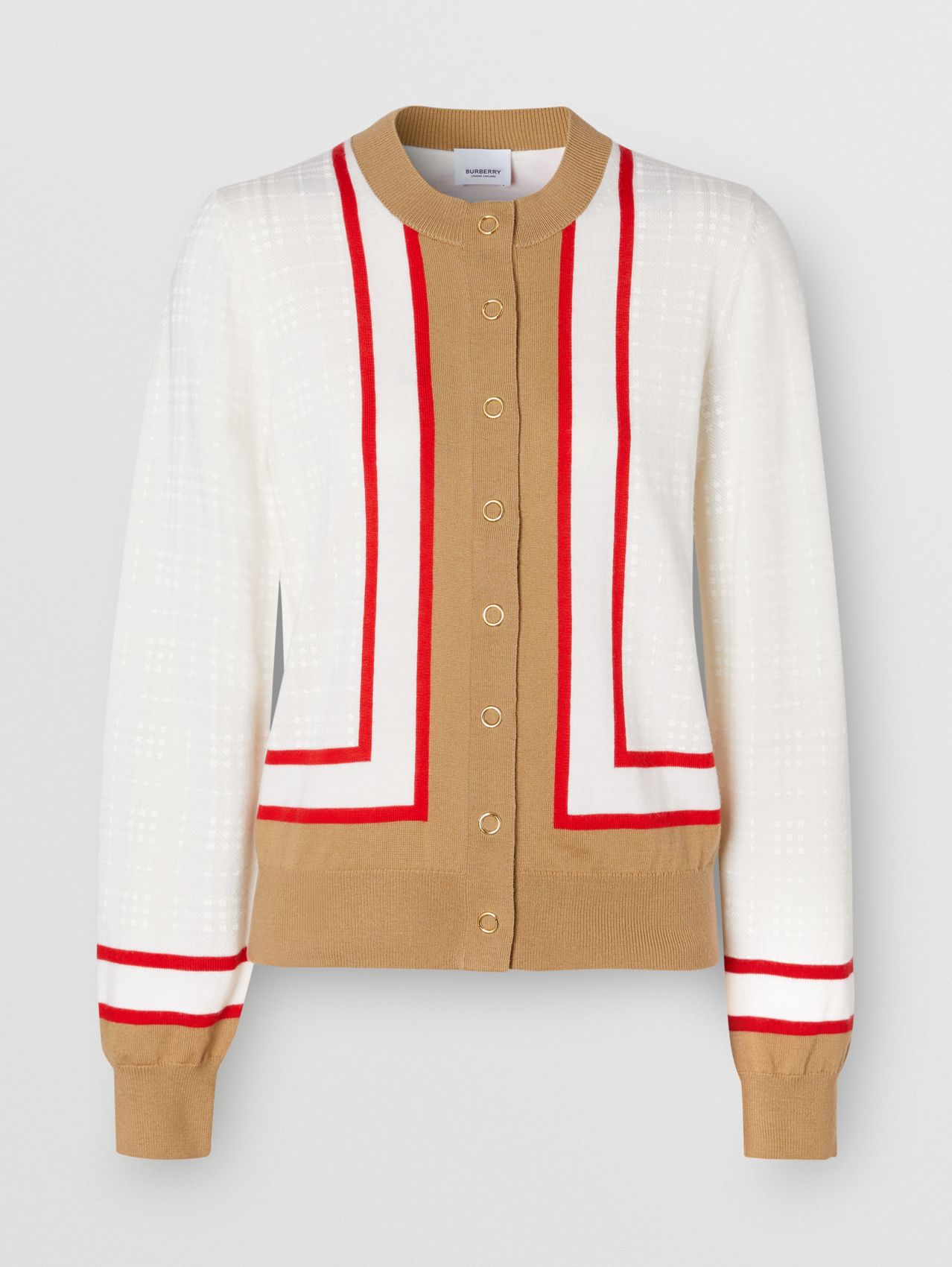 Archive Society Intarsia Wool Cardigan (White)