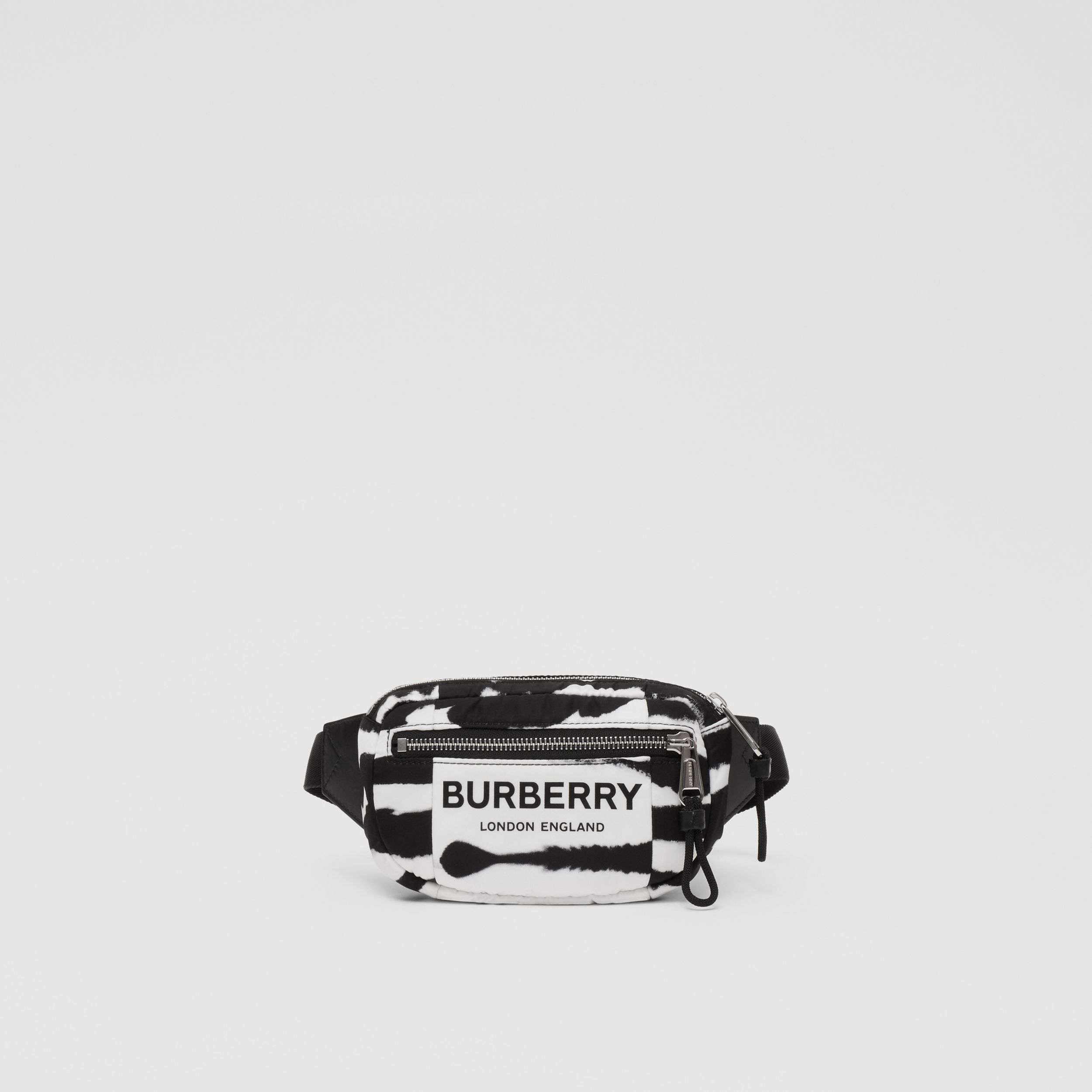 Small Watercolour Print ECONYL® Cannon Bum Bag in Black/white | Burberry Canada - 1