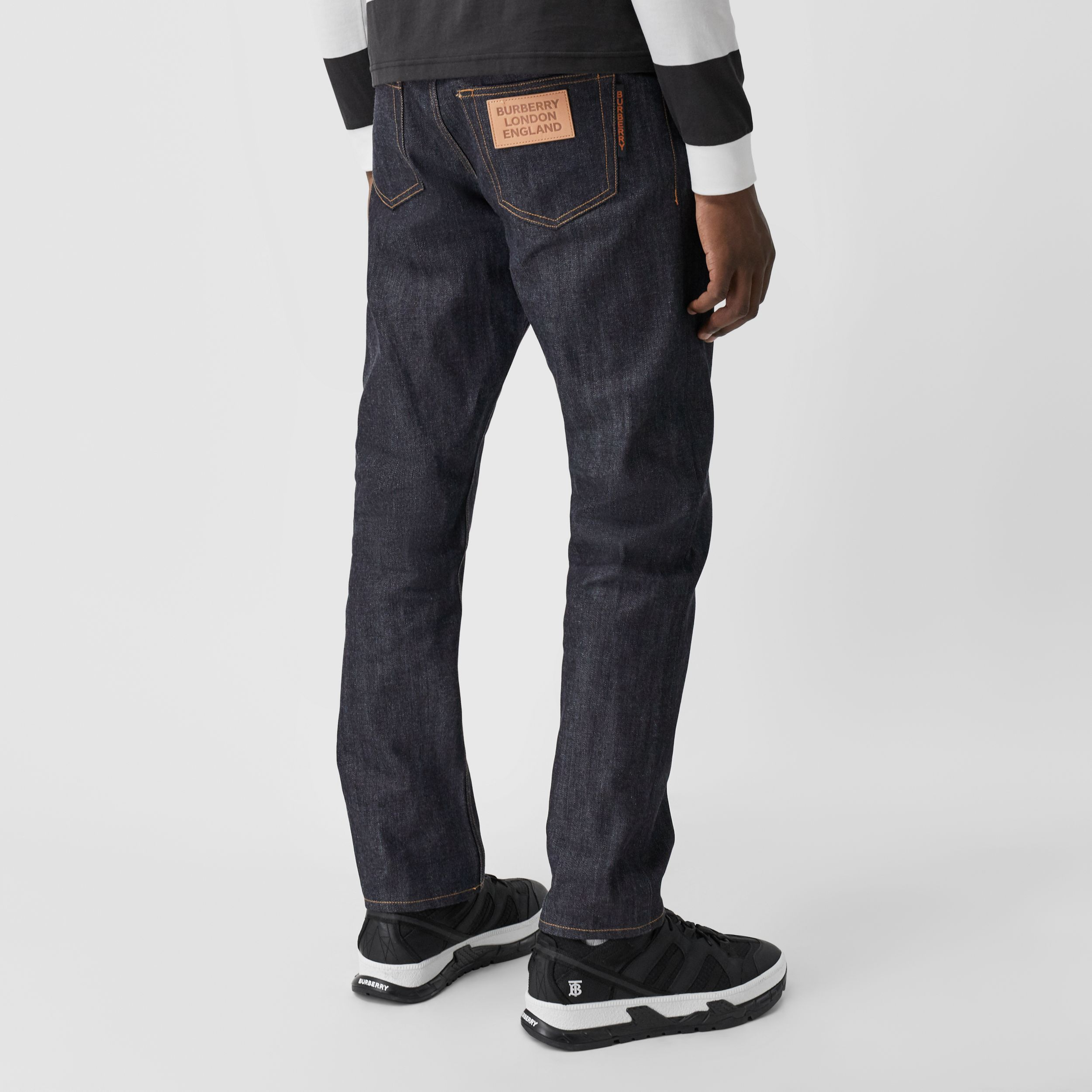 Straight Fit Raw Japanese Selvedge Denim Jeans - Men | Burberry - 3
