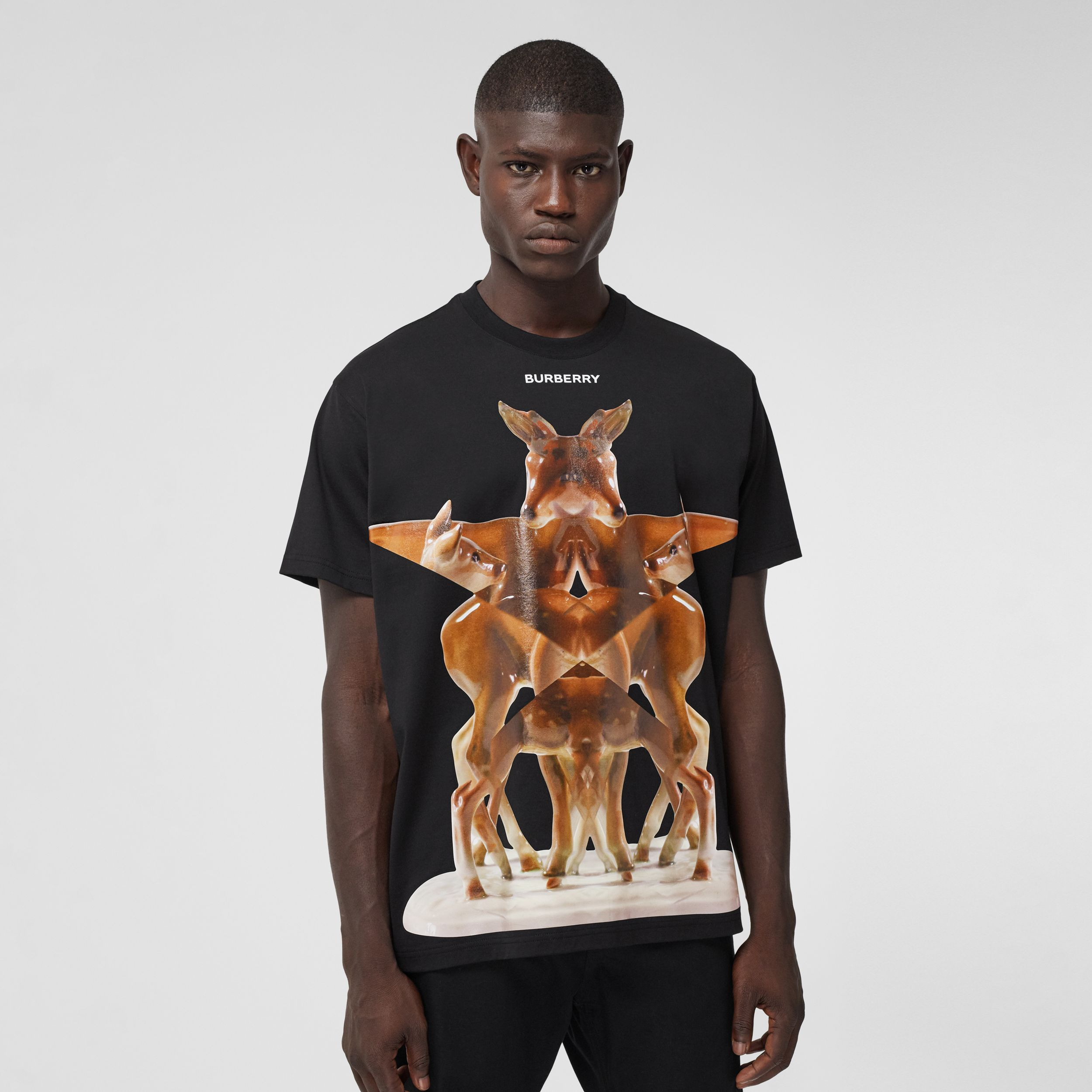 Kaleidoscope Print Cotton Oversized T-shirt in Black - Men | Burberry - 1