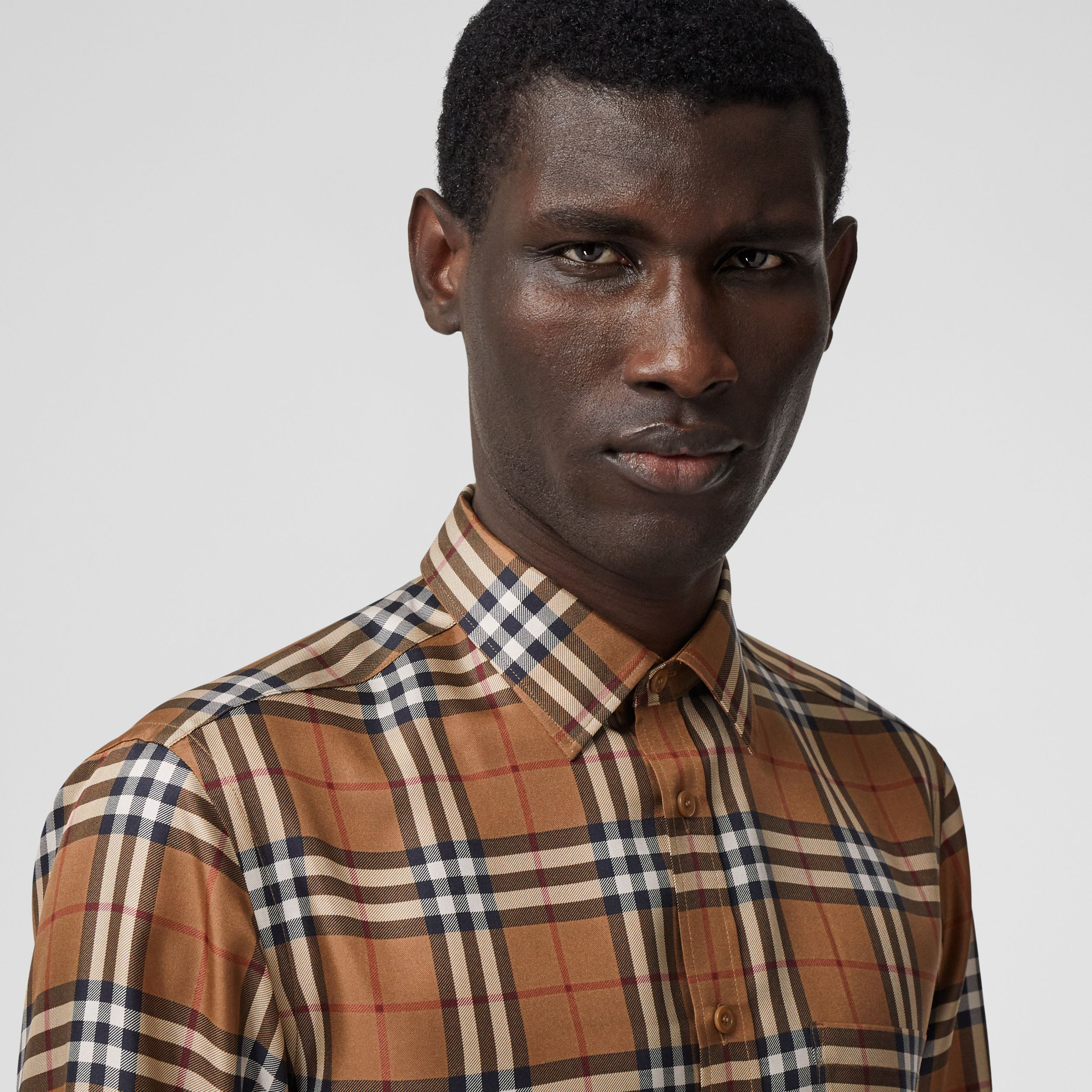 Slim Fit Vintage Check Silk Shirt in Birch Brown - Men | Burberry - 2