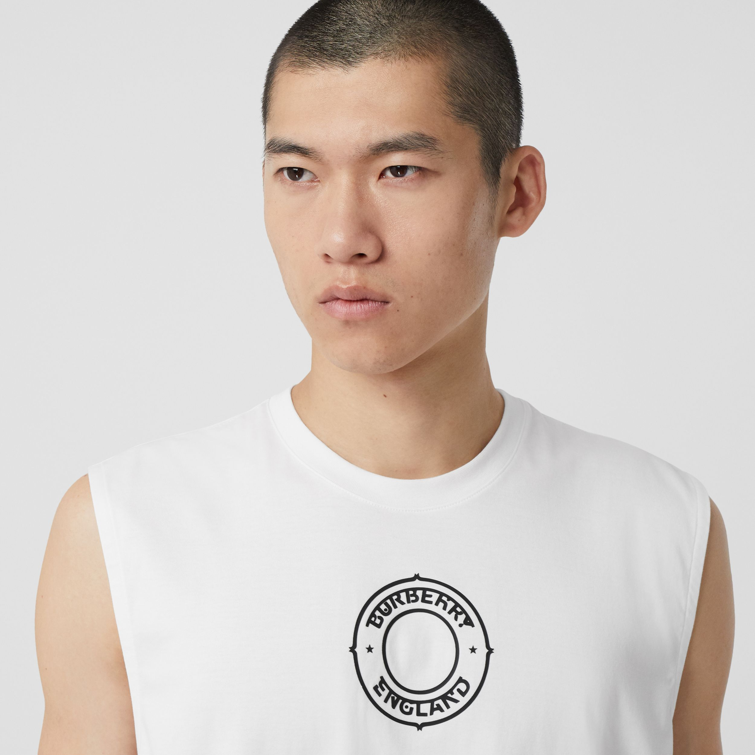 Logo Graphic Print Cotton Vest in White | Burberry United States - 2