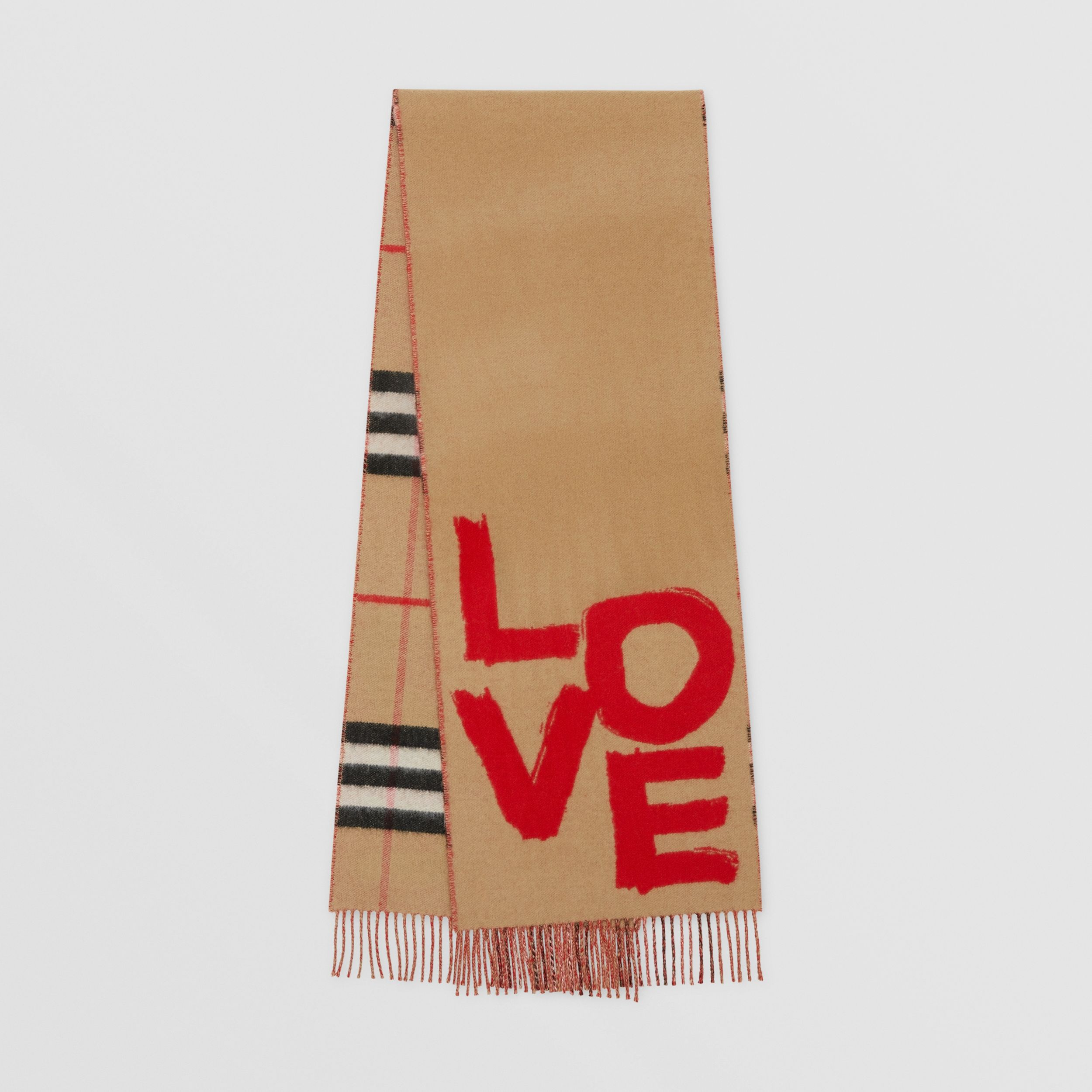 Love and Check Cashmere Jacquard Scarf in Archive Beige | Burberry - 1