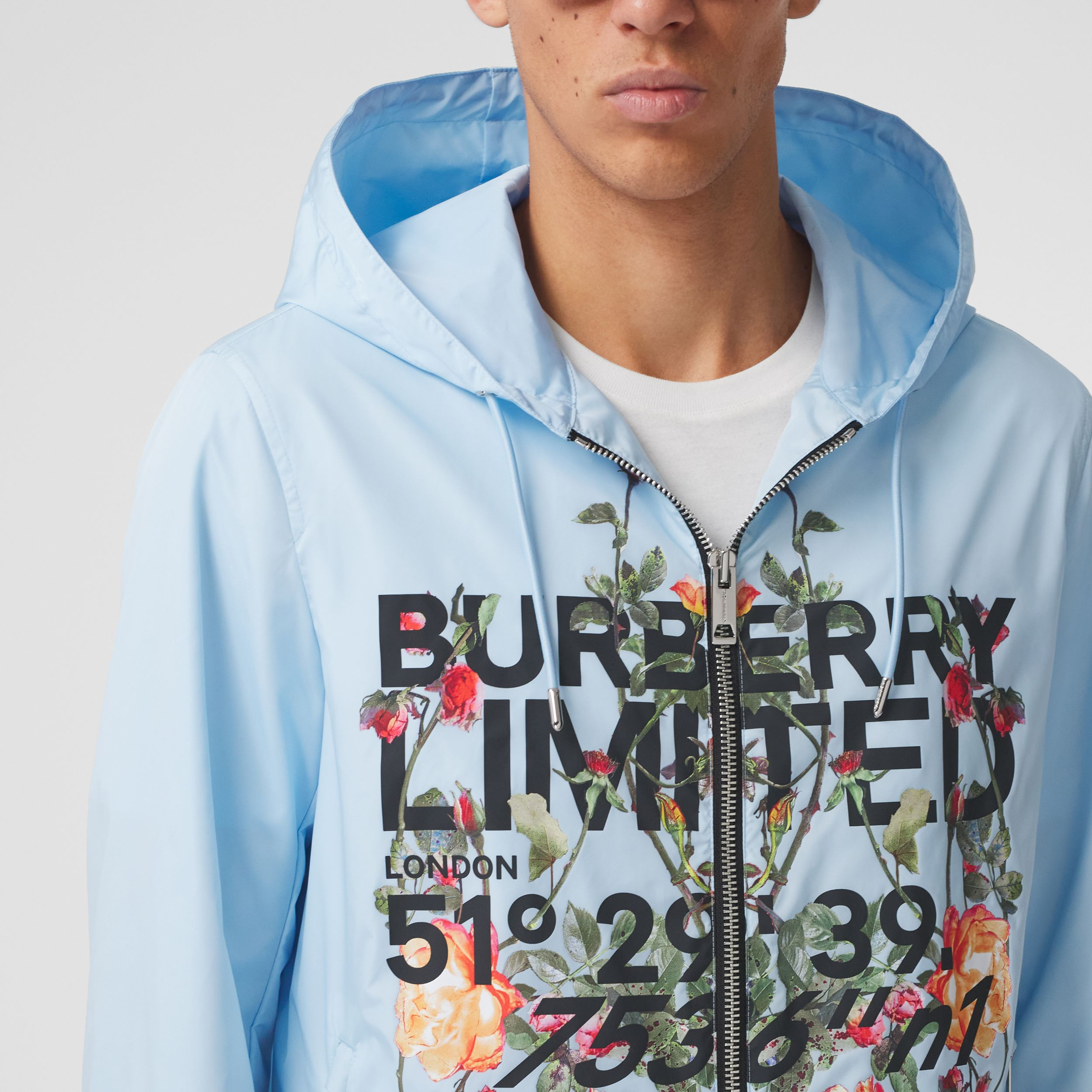 Montage Print ECONYL® Hooded Jacket in Pale Blue - Men | Burberry - 2