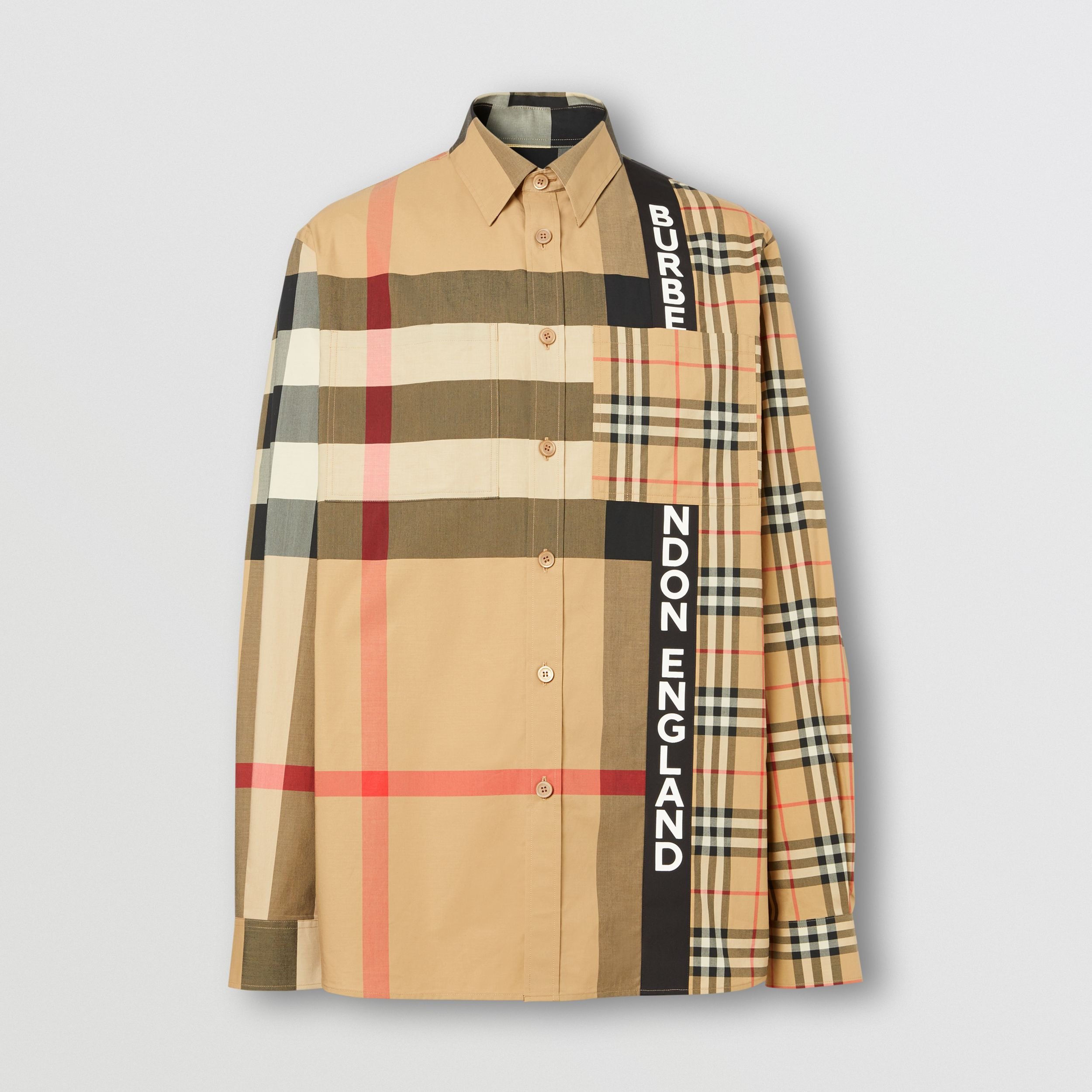 Logo Print Patchwork Check Cotton Oversized Shirt in Archive Beige - Men | Burberry - 4