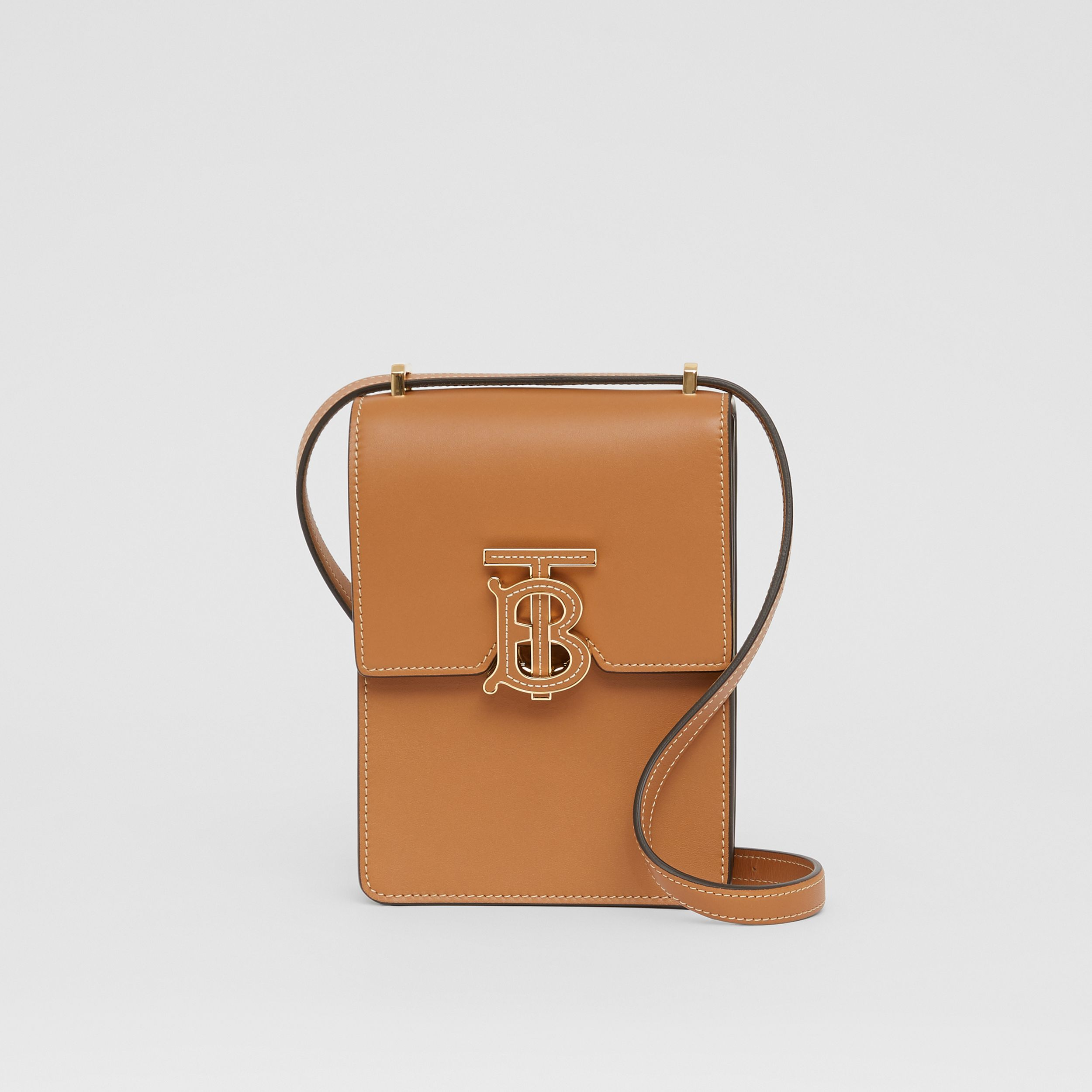 Topstitched Leather Robin Bag in Maple Brown - Women | Burberry - 1