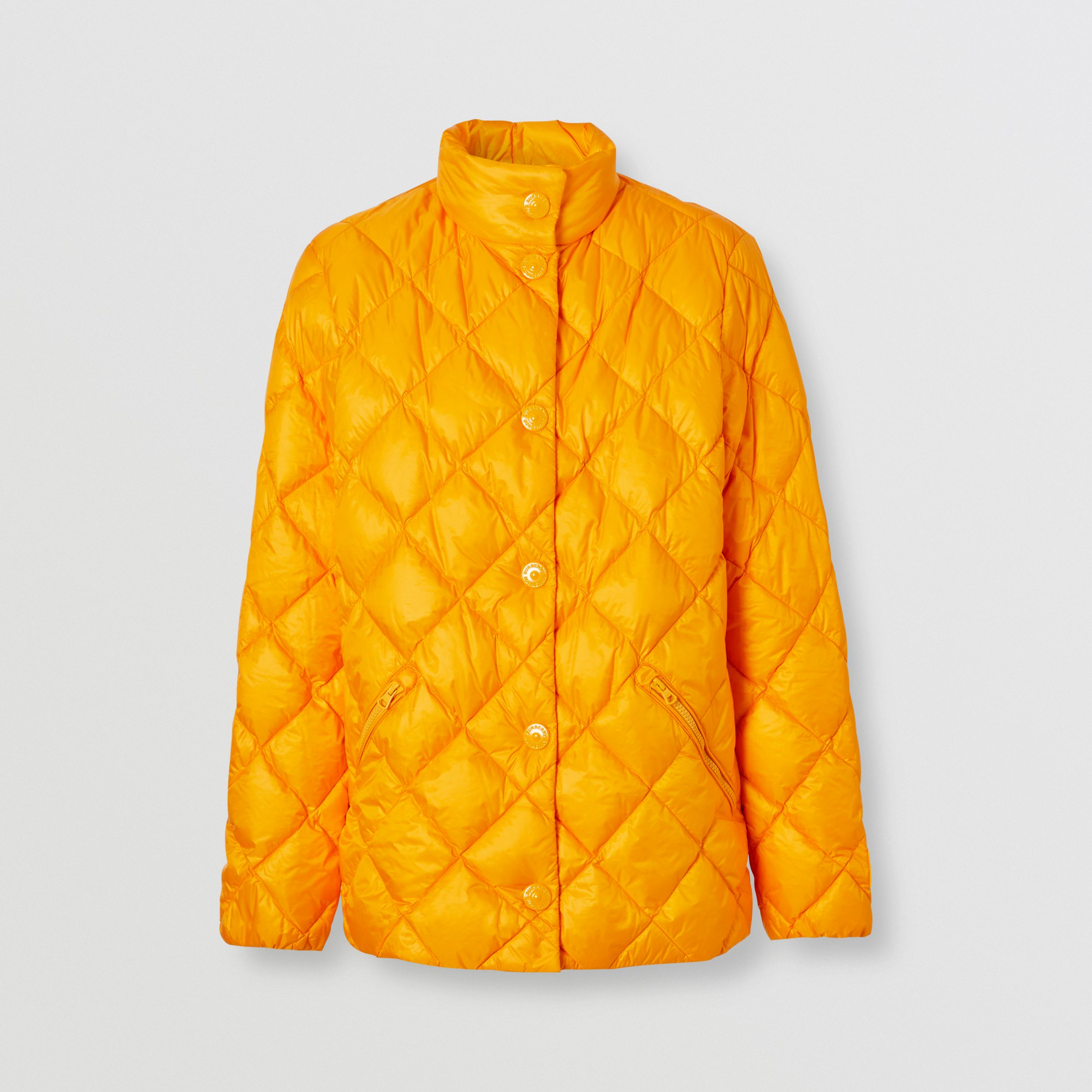 Diamond Quilted Down-filled Jacket in Citrus Orange - Women | Burberry Australia - 4