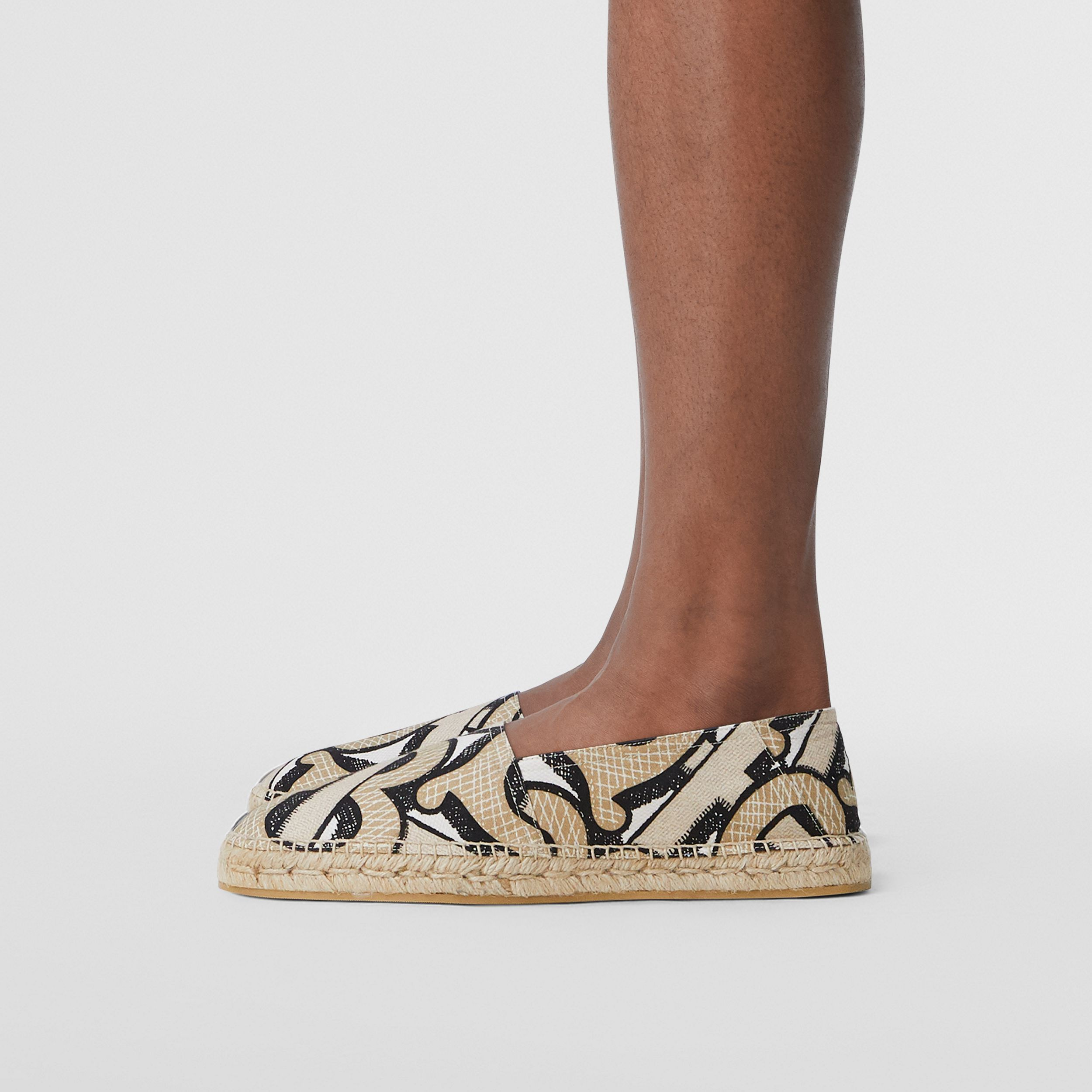 Monogram Print Cotton Canvas Espadrilles in Dark Beige | Burberry - 3
