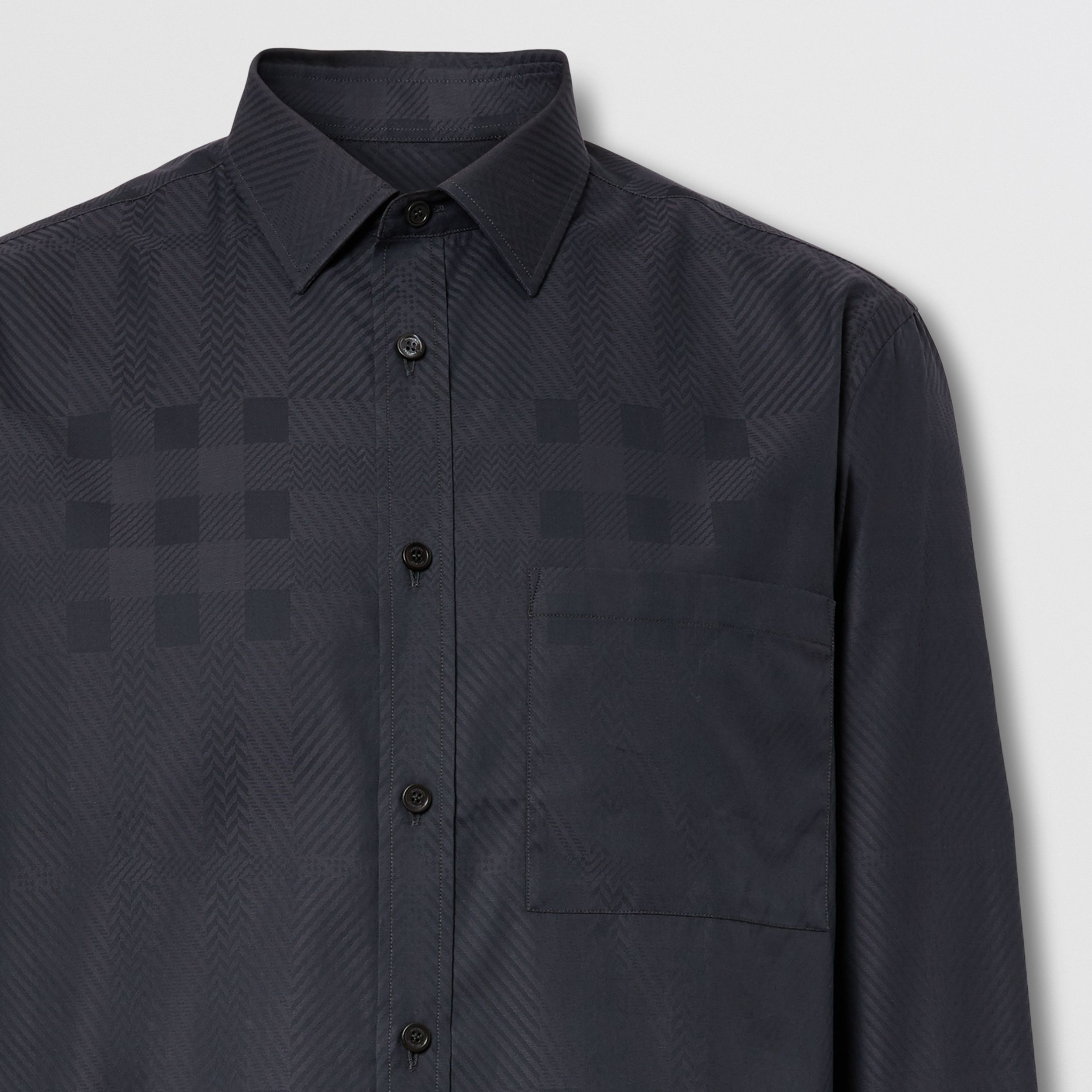 Slim Fit Check Cotton Jacquard Shirt in Charcoal - Men | Burberry - 2