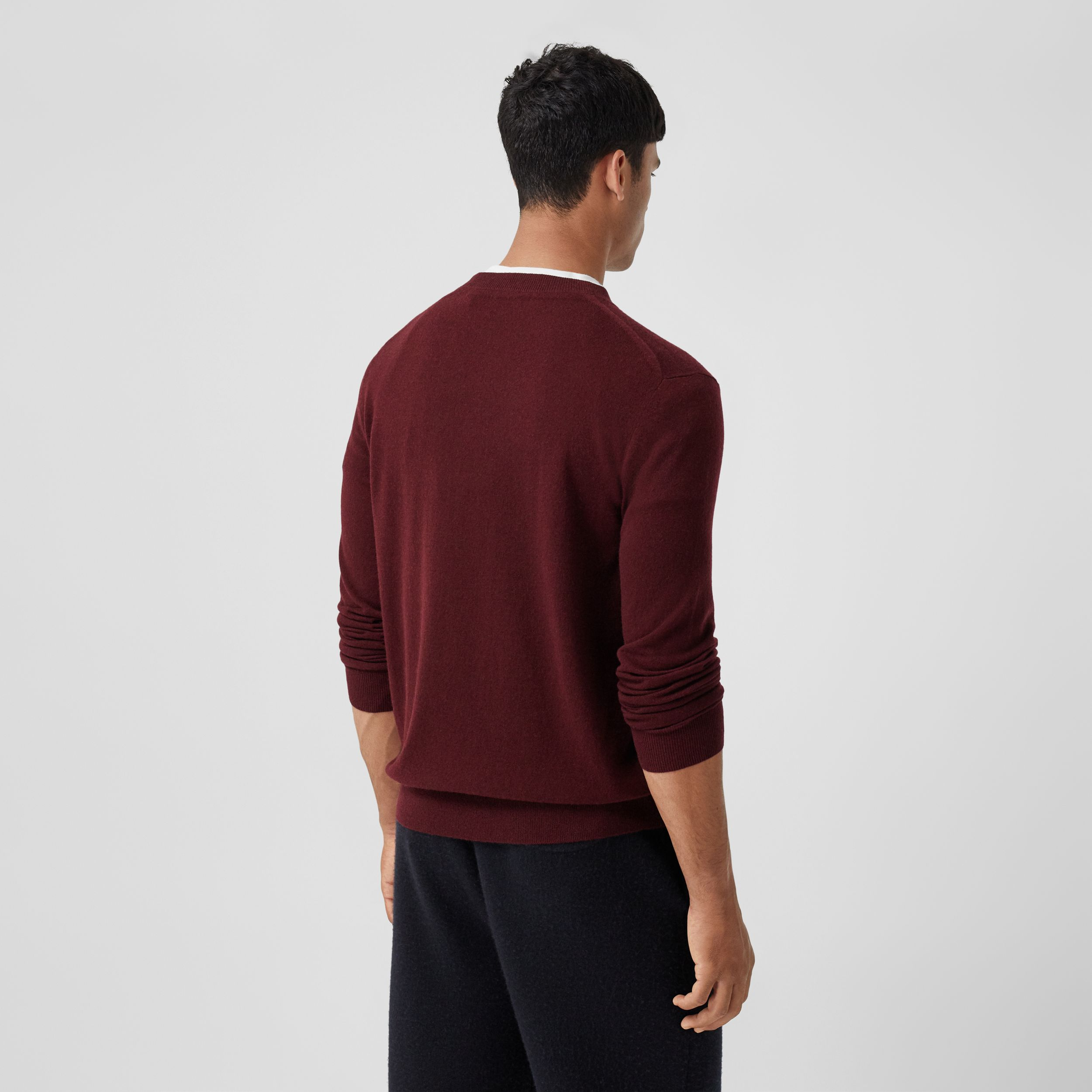 Monogram Motif Cashmere Sweater in Deep Merlot - Men | Burberry - 3