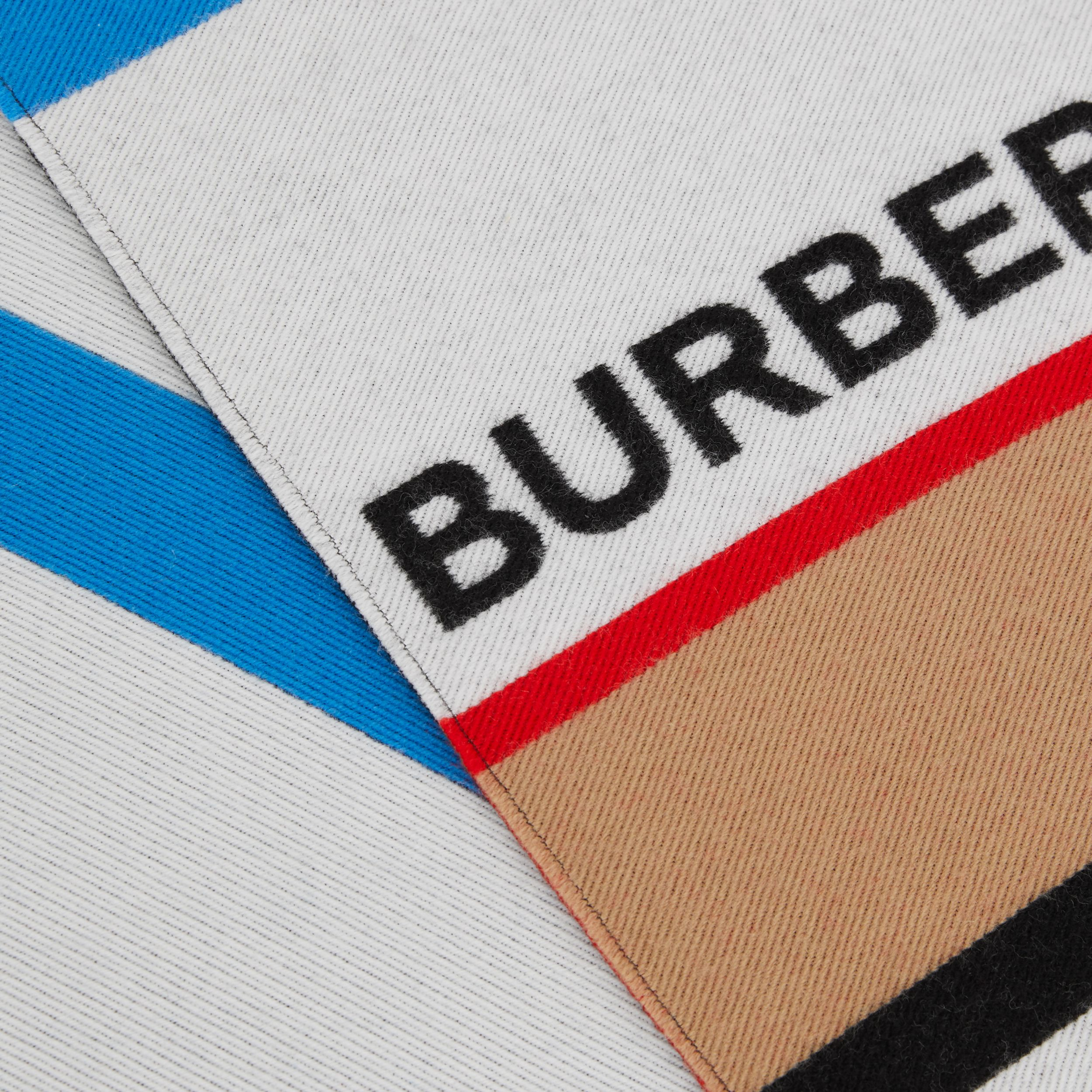 Logo and Icon Stripe Wool Cotton Jacquard Scarf in Bright Blue - Children | Burberry - 2