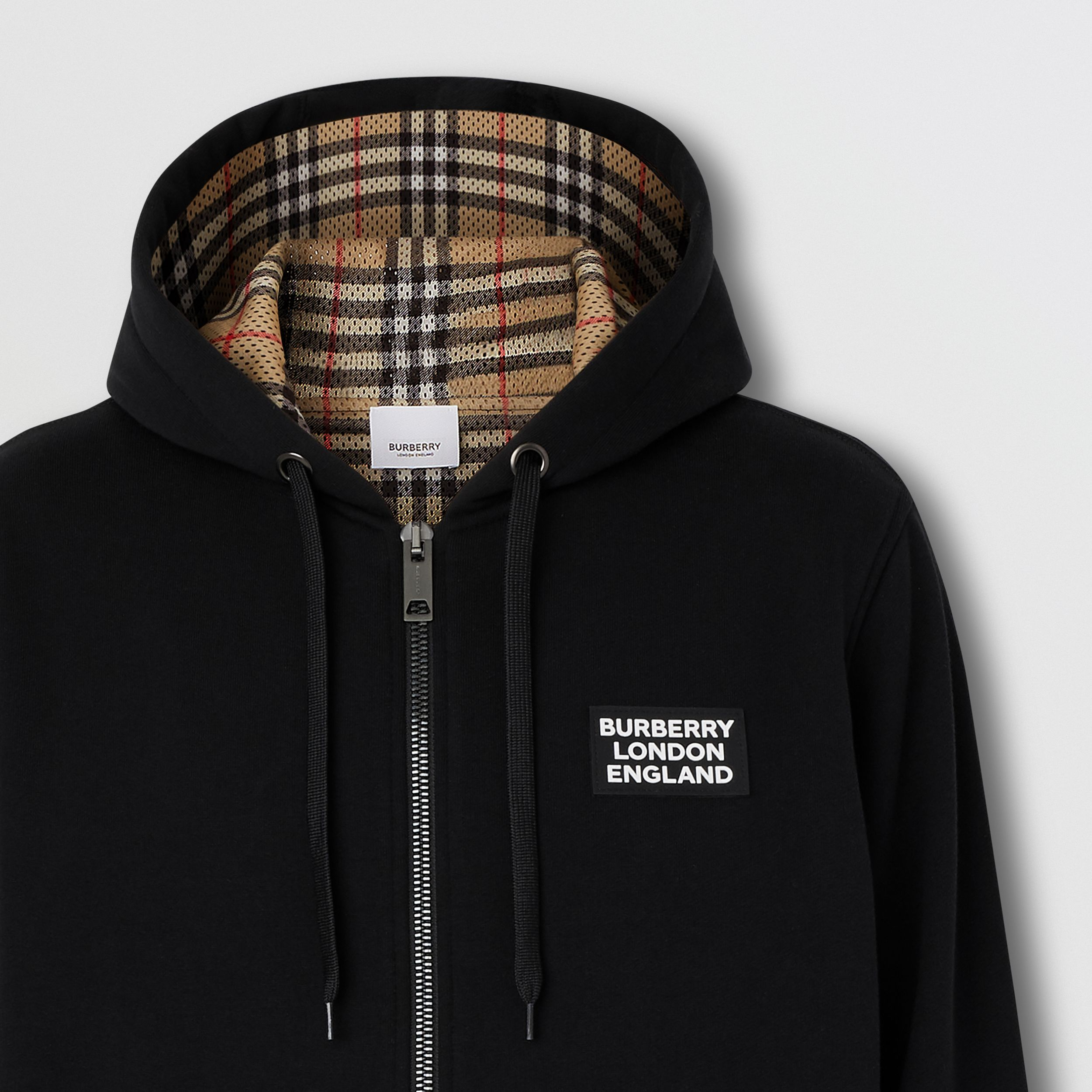 Logo Appliqué Cotton Hooded Top in Black - Men | Burberry - 3