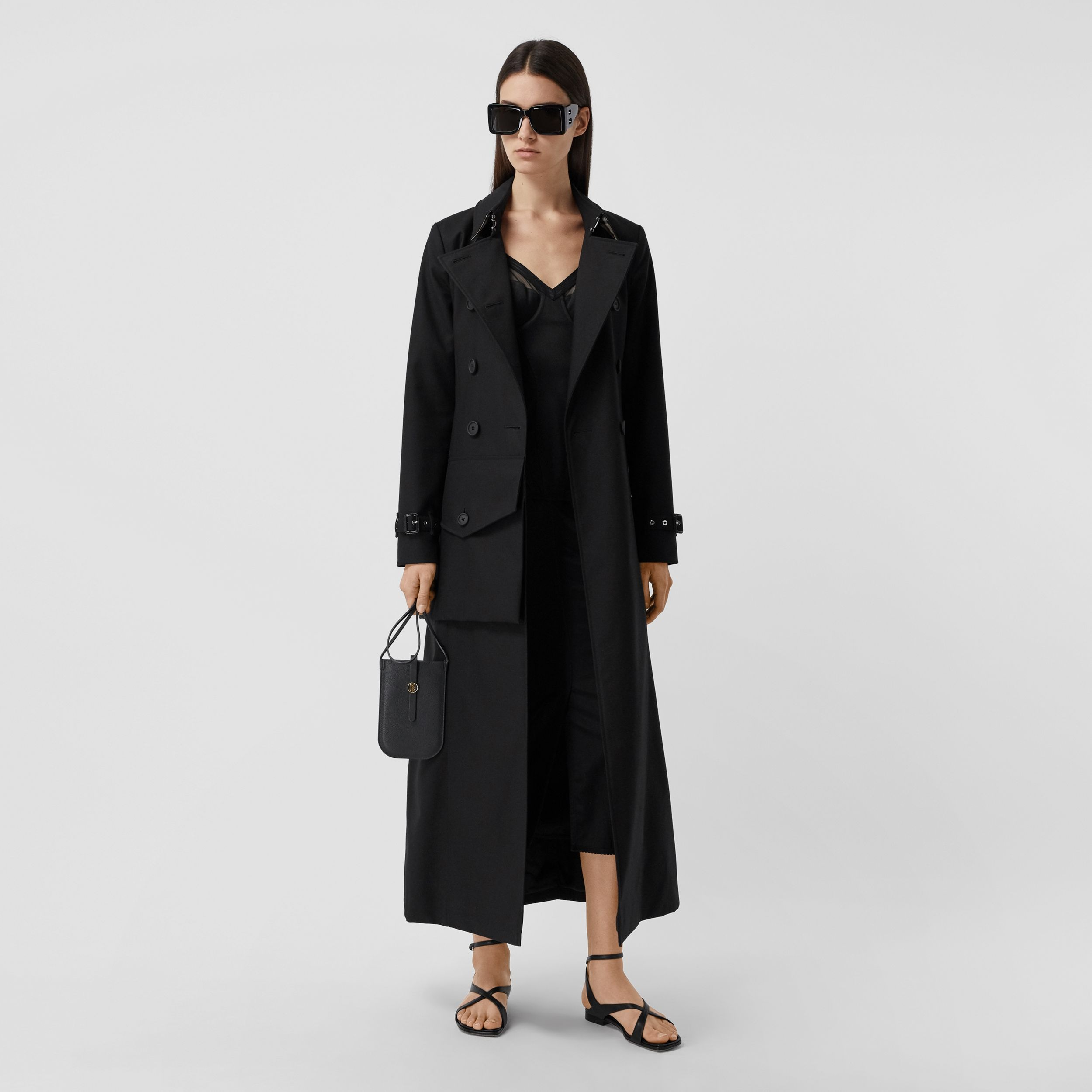 Pocket Detail Cotton Gabardine Trench Coat in Black - Women | Burberry - 1