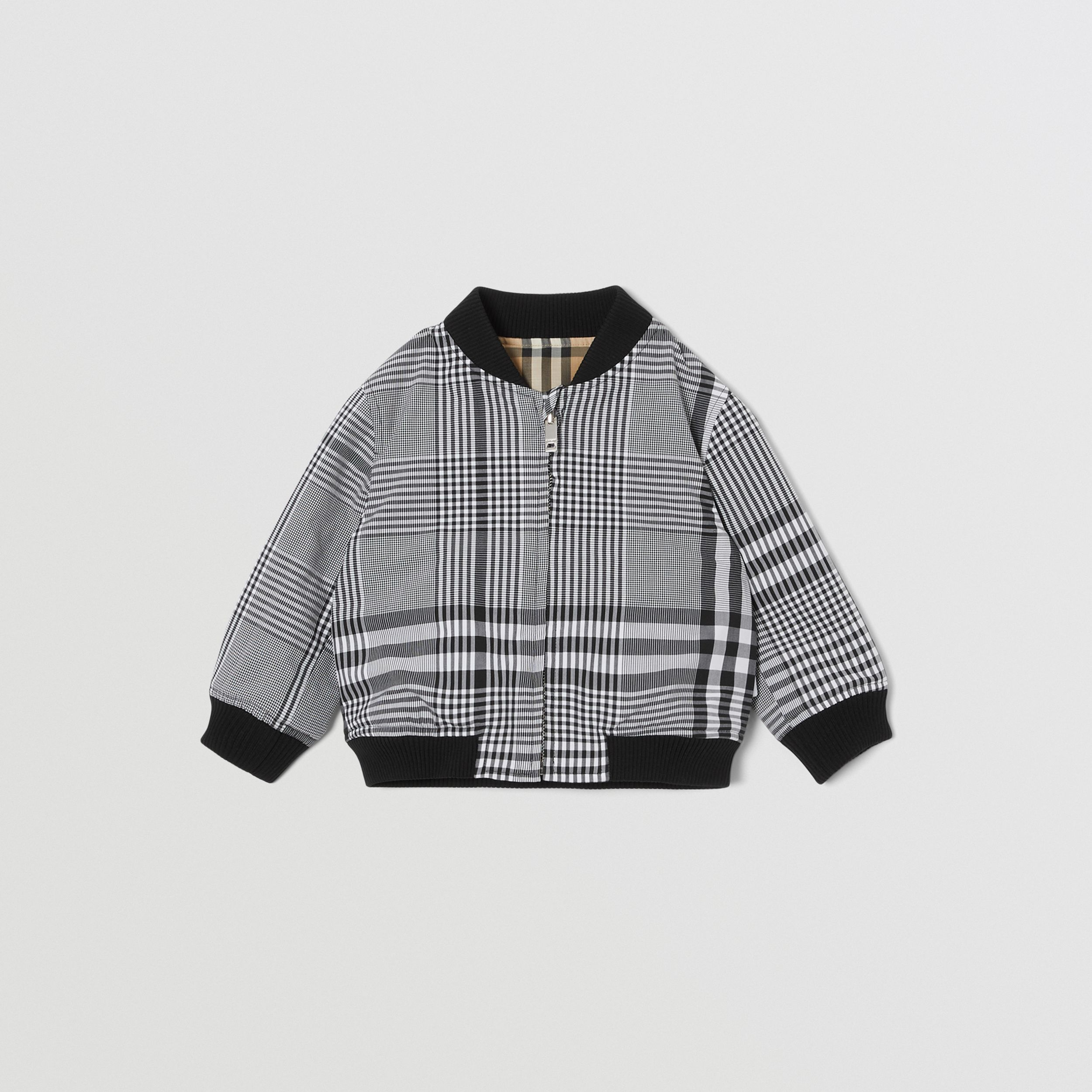 Reversible Check Cotton Bomber Jacket in Black - Children | Burberry - 1
