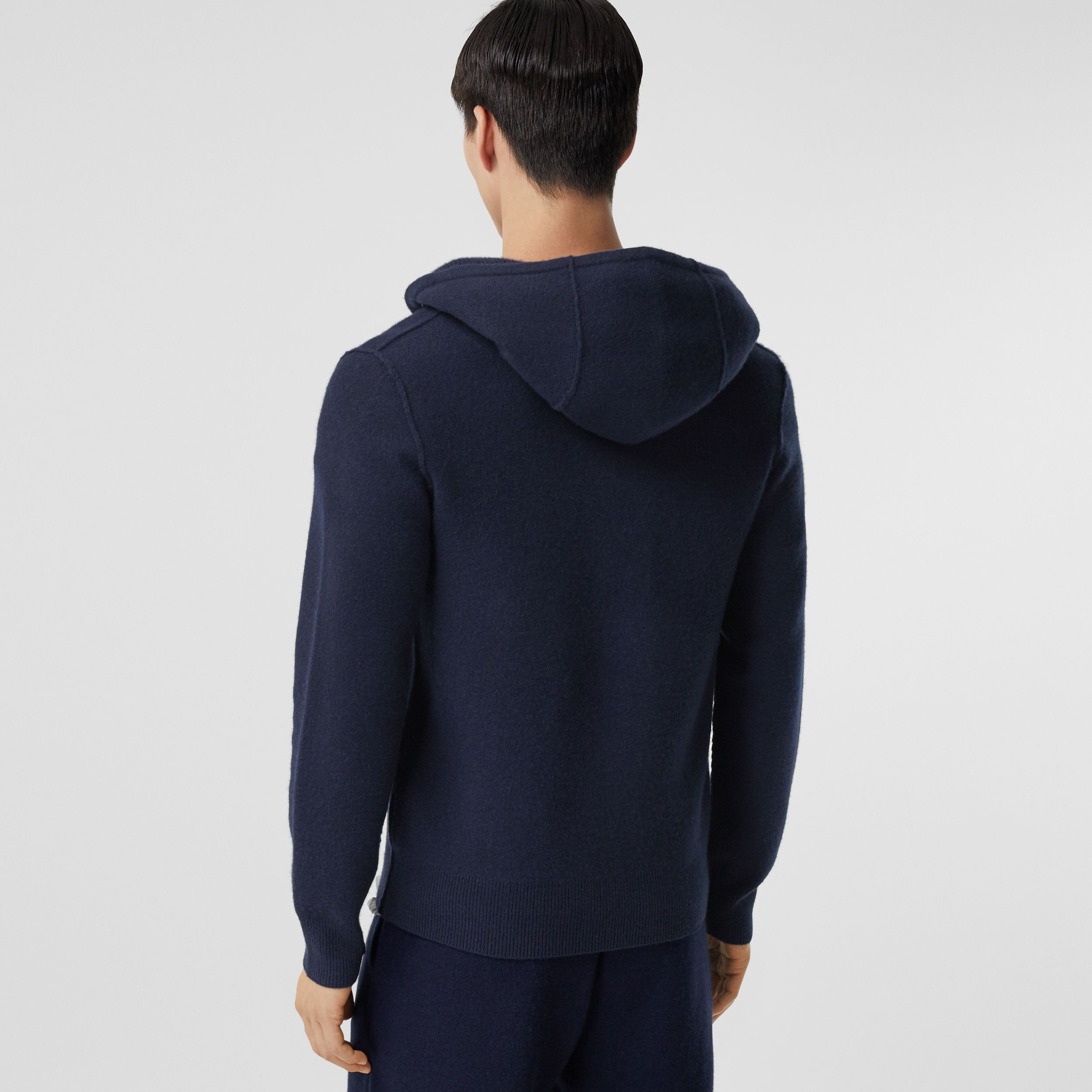 Monogram Motif Cashmere Blend Hooded Top in Navy - Men | Burberry - 3