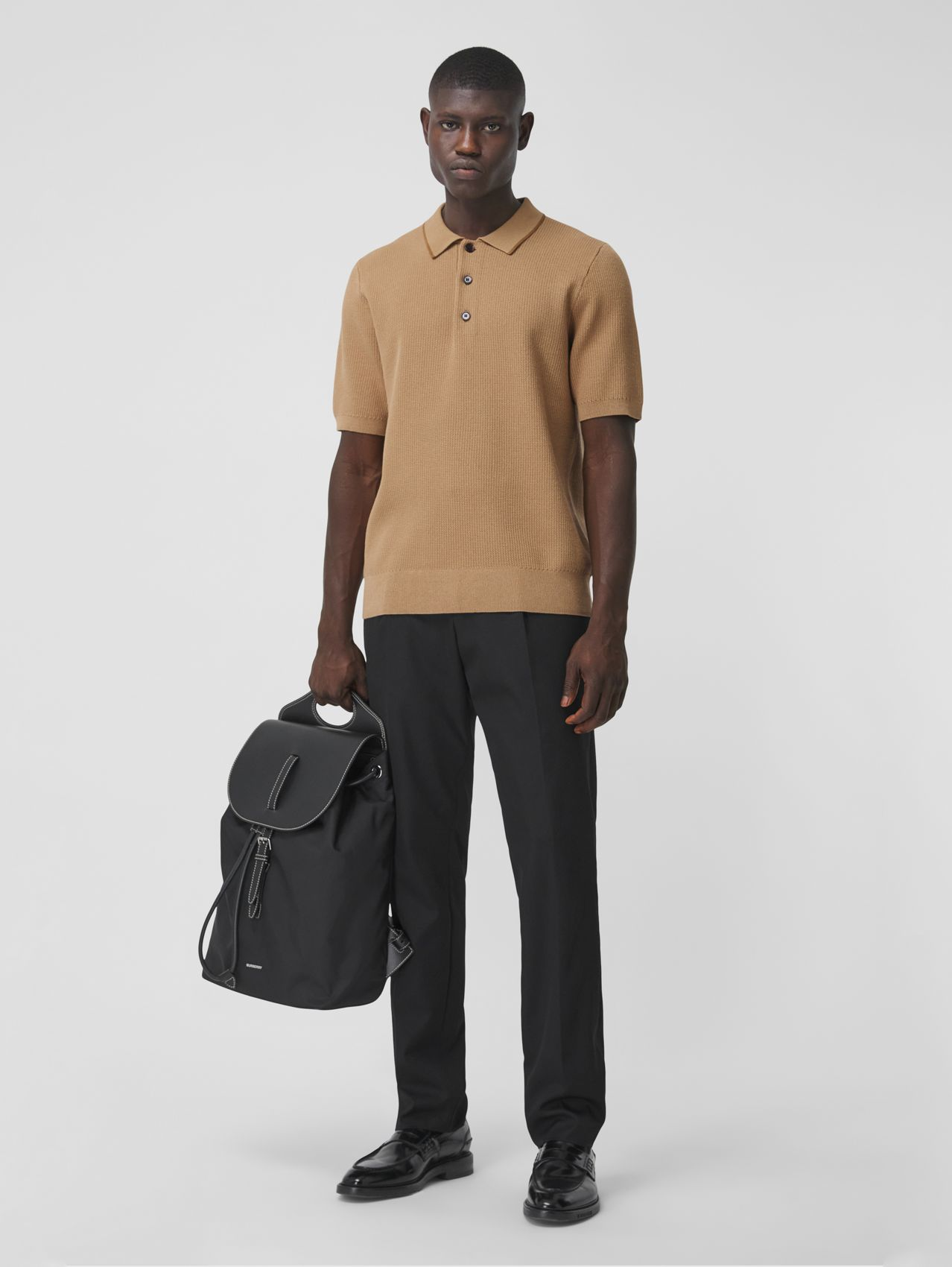 Technical Silk Cotton Piqué Polo Shirt in Camel