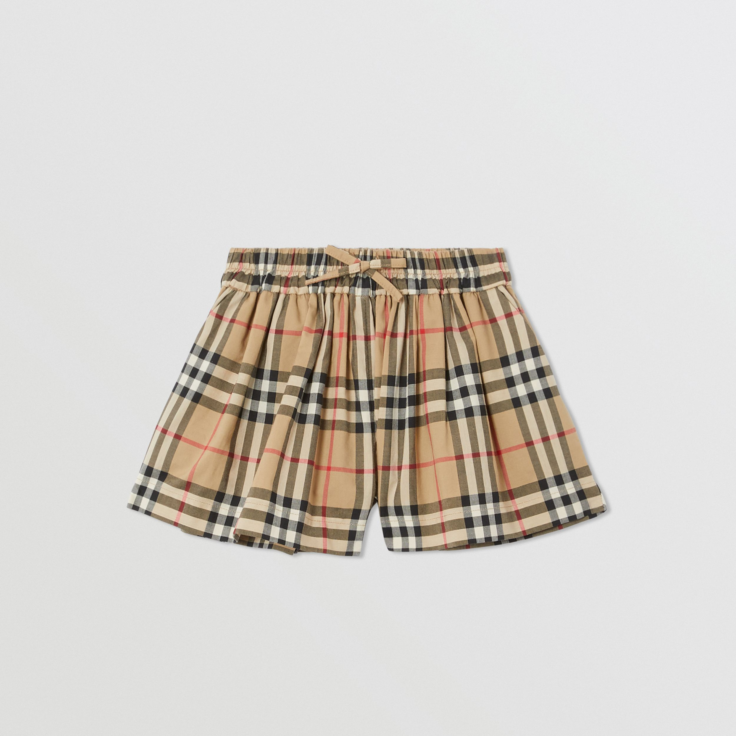 Vintage Check Gathered Cotton Shorts in Archive Beige - Children | Burberry - 1