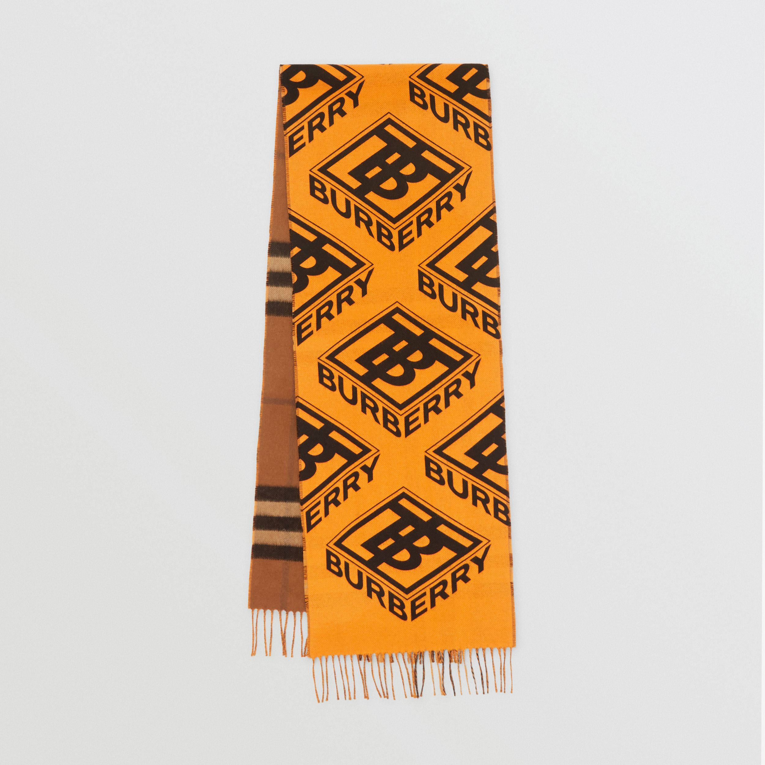 Reversible Check and Logo Graphic Cashmere Scarf in Bridle Brown | Burberry - 1