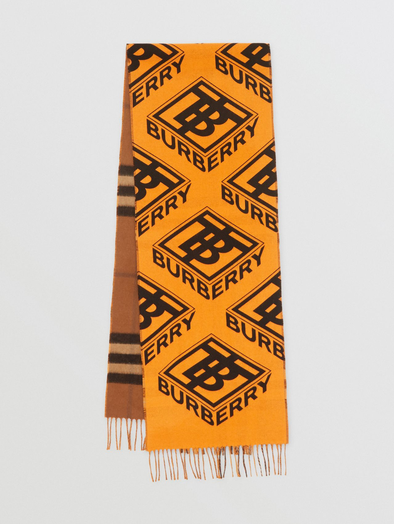 Reversible Check and Logo Graphic Cashmere Scarf in Bridle Brown