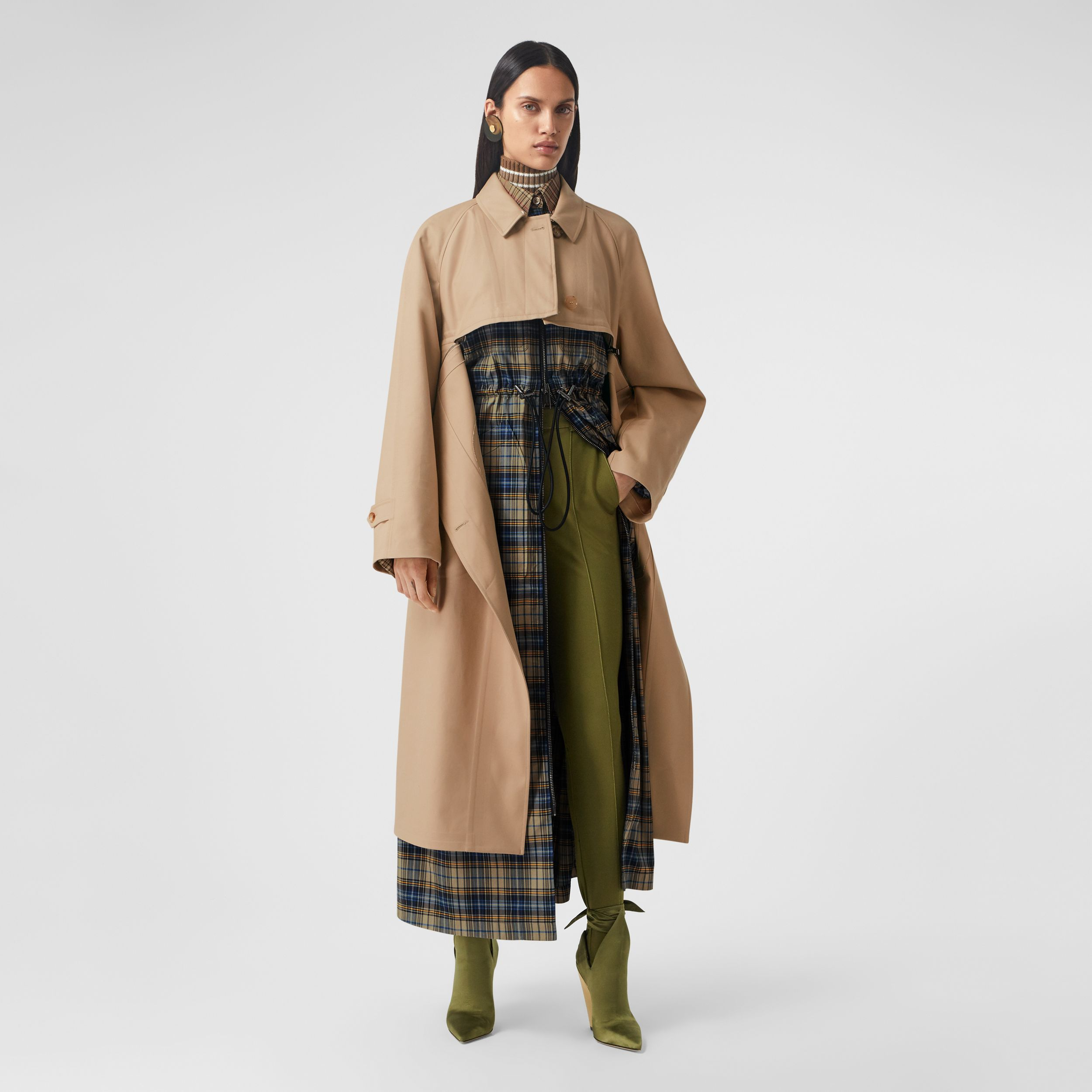 Cotton Gabardine Reconstructed Car Coat in Soft Fawn - Women | Burberry United Kingdom - 1
