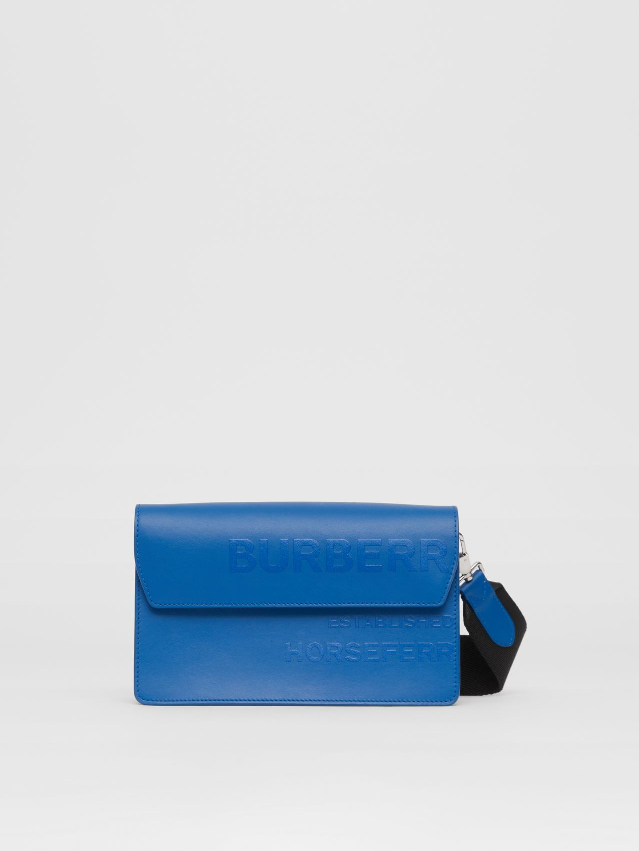 Horseferry Print Leather Crossbody Bag in Blue