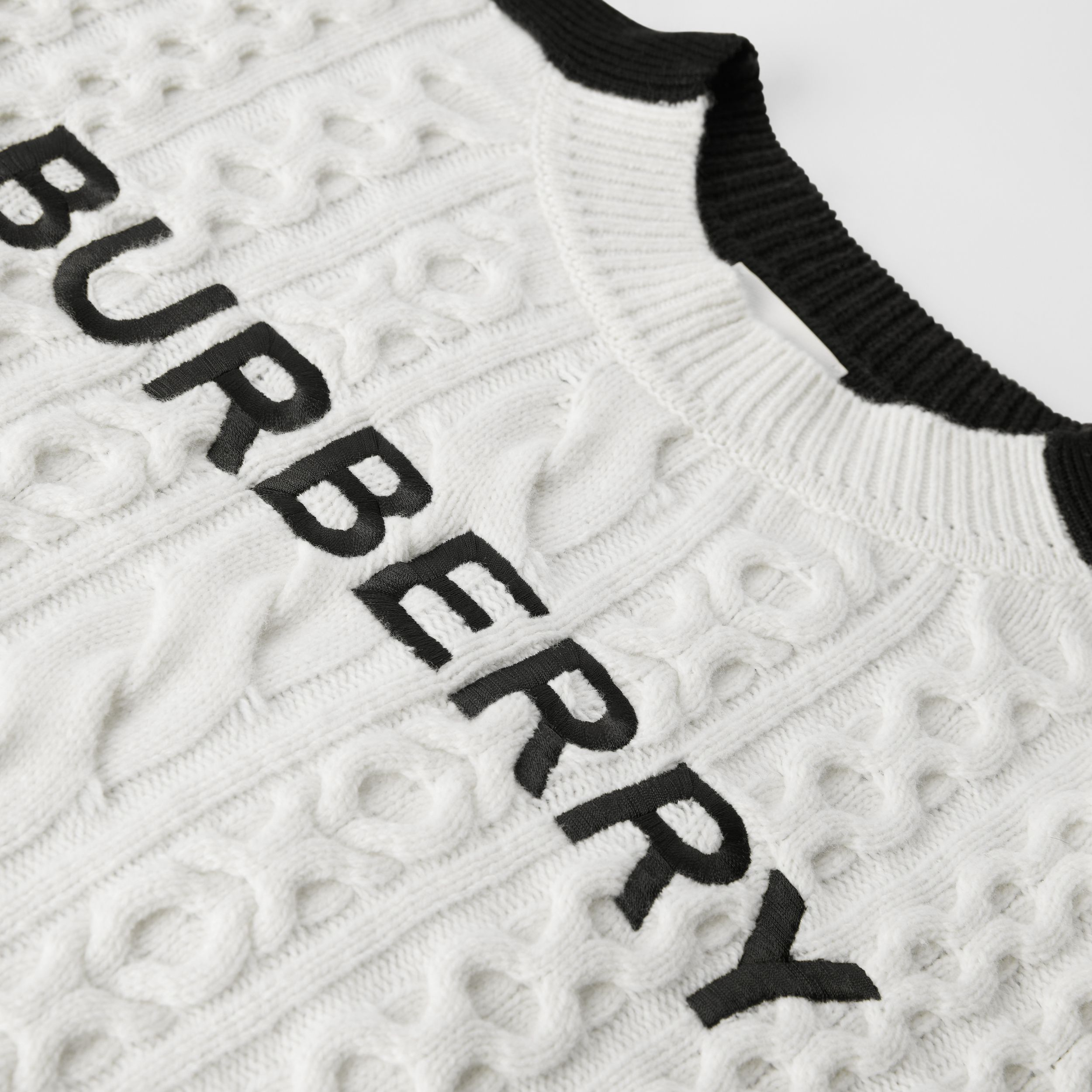 Embroidered Logo Cable Knit Wool Blend Sweater in White/black | Burberry - 2