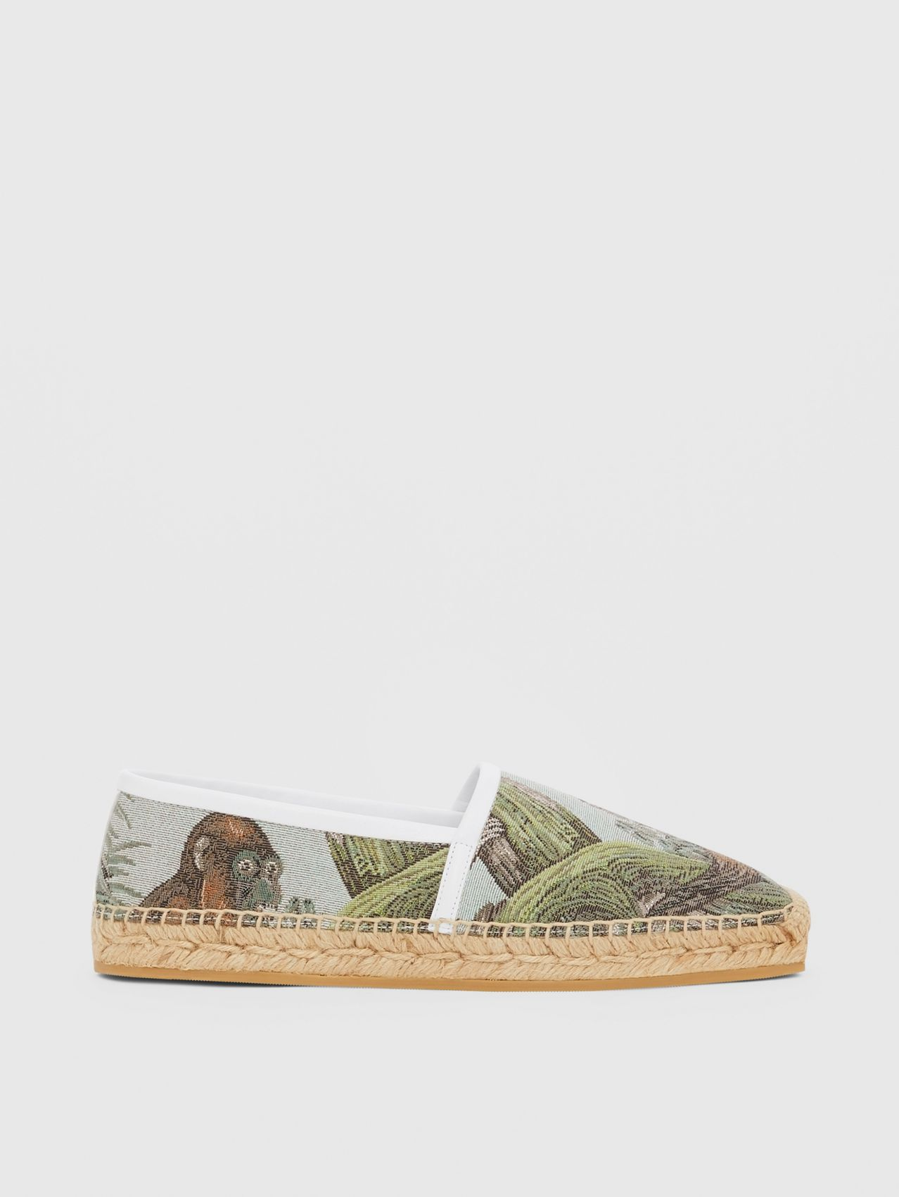 Monkey Jacquard and Leather Espadrilles in Black/opal Green