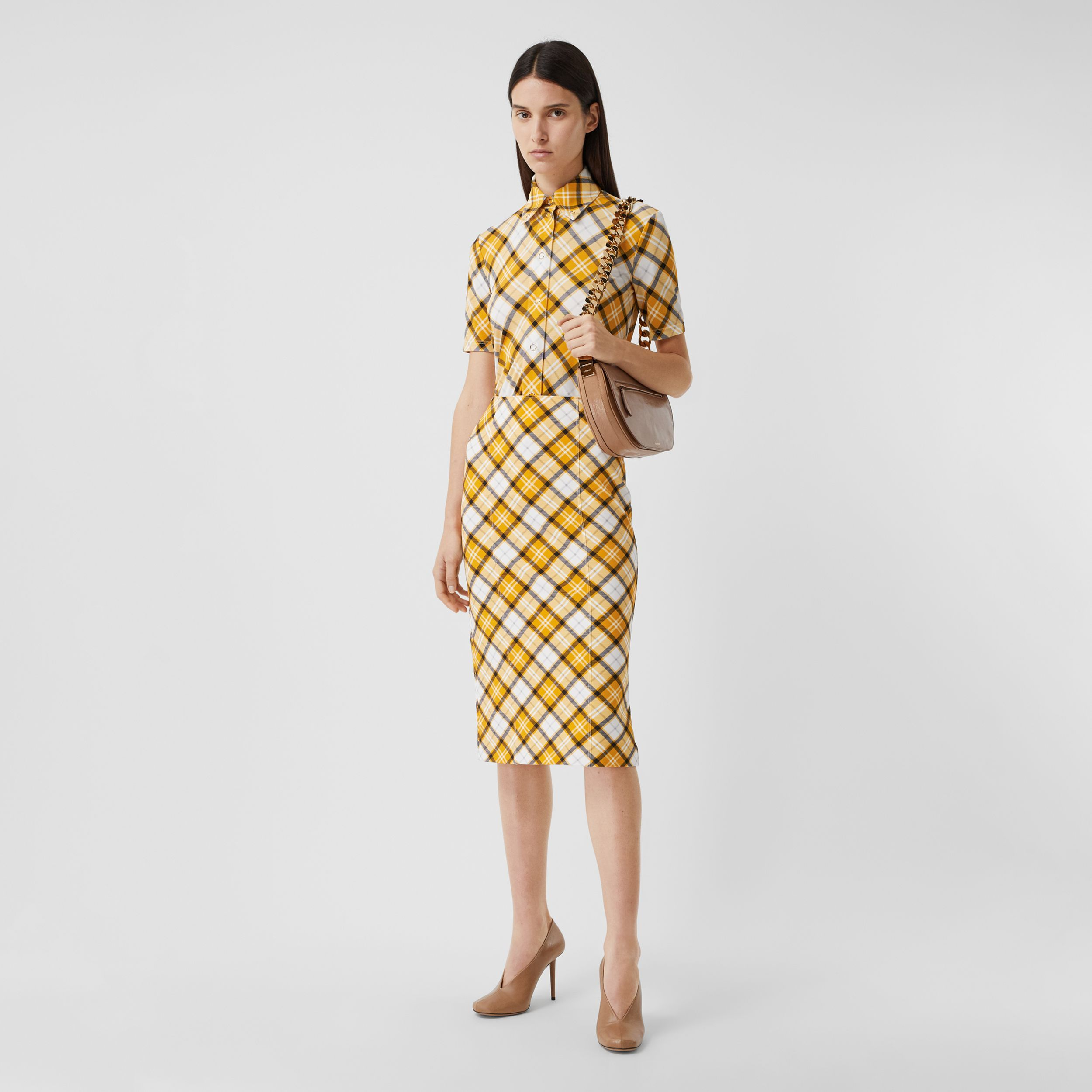 Check Print Stretch Jersey Pencil Skirt in Citrus Orange - Women | Burberry Hong Kong S.A.R. - 1