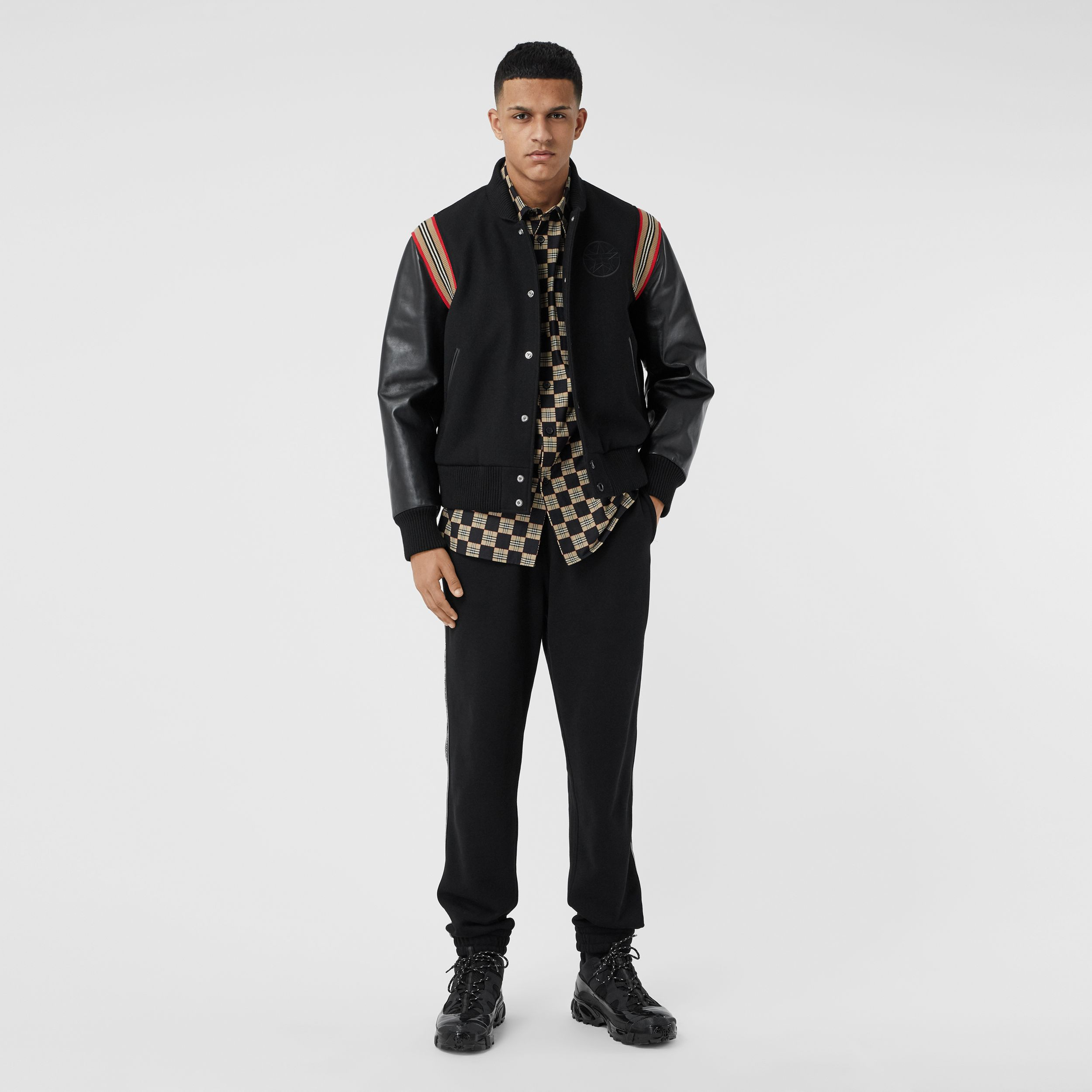 Icon Stripe Trim Wool Felt and Leather Bomber Jacket - Men | Burberry - 1