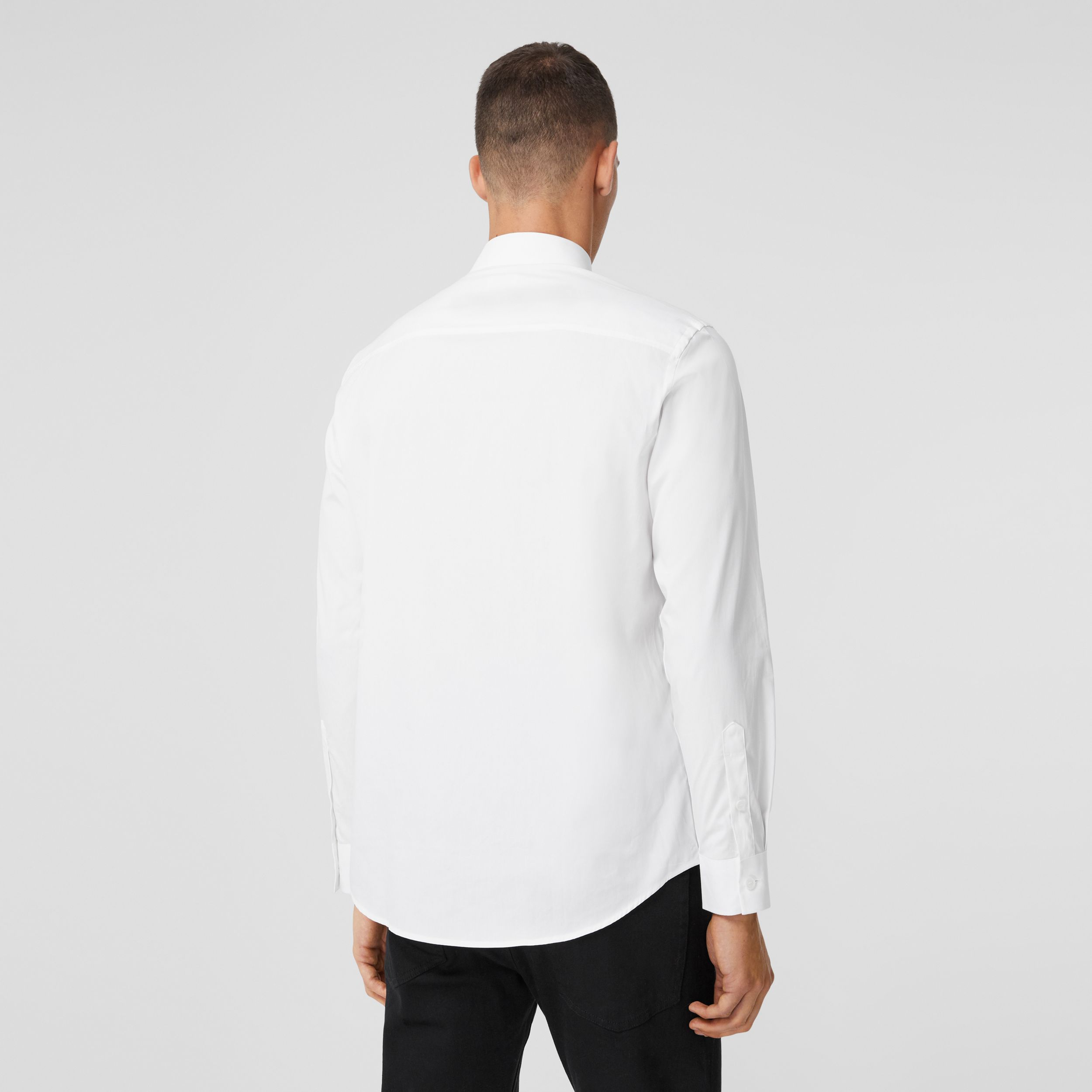 Monogrom Motif Stretch Cotton Poplin Shirt in White - Men | Burberry Australia - 3