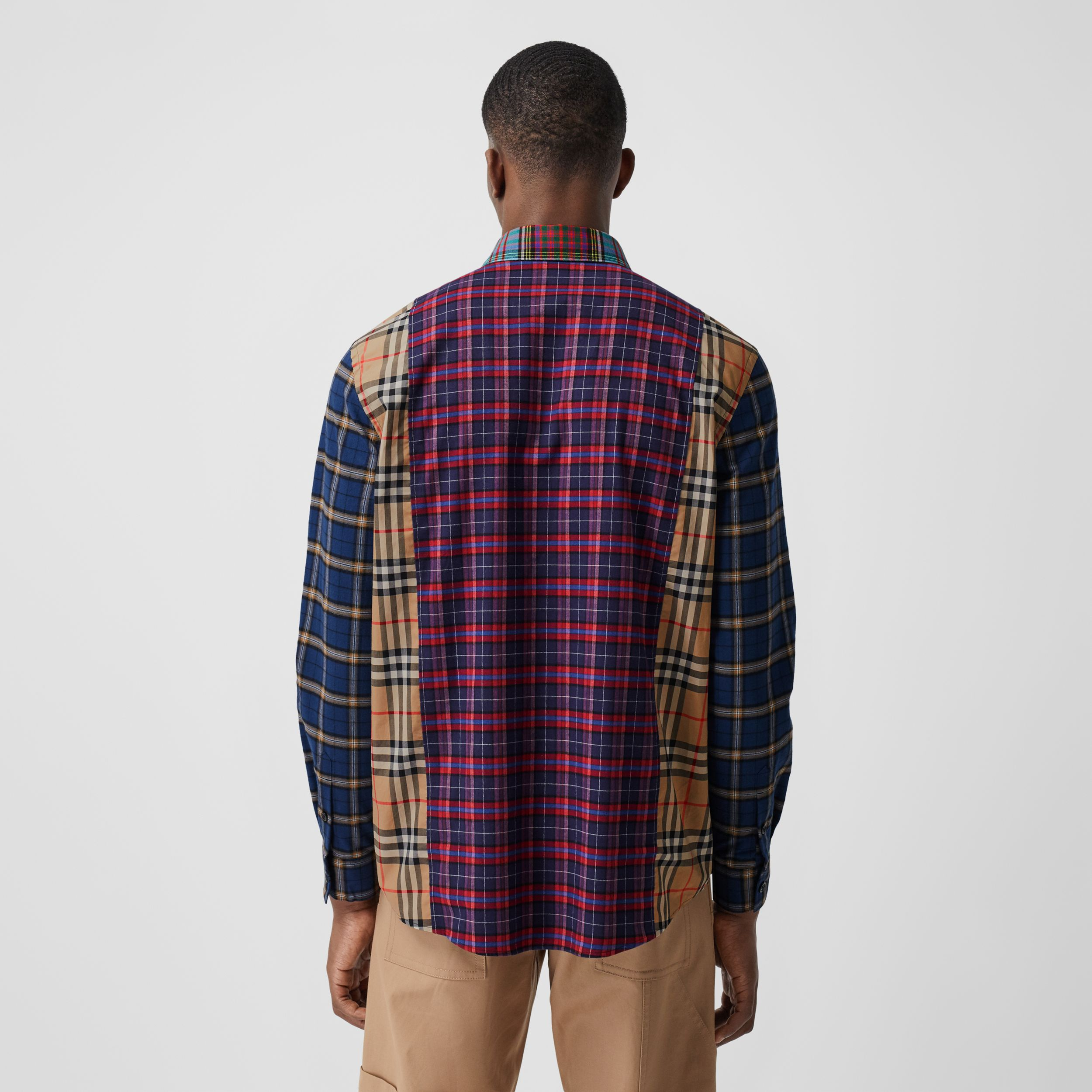 Patchwork Check Cotton Oversized Shirt in Navy - Men | Burberry - 3